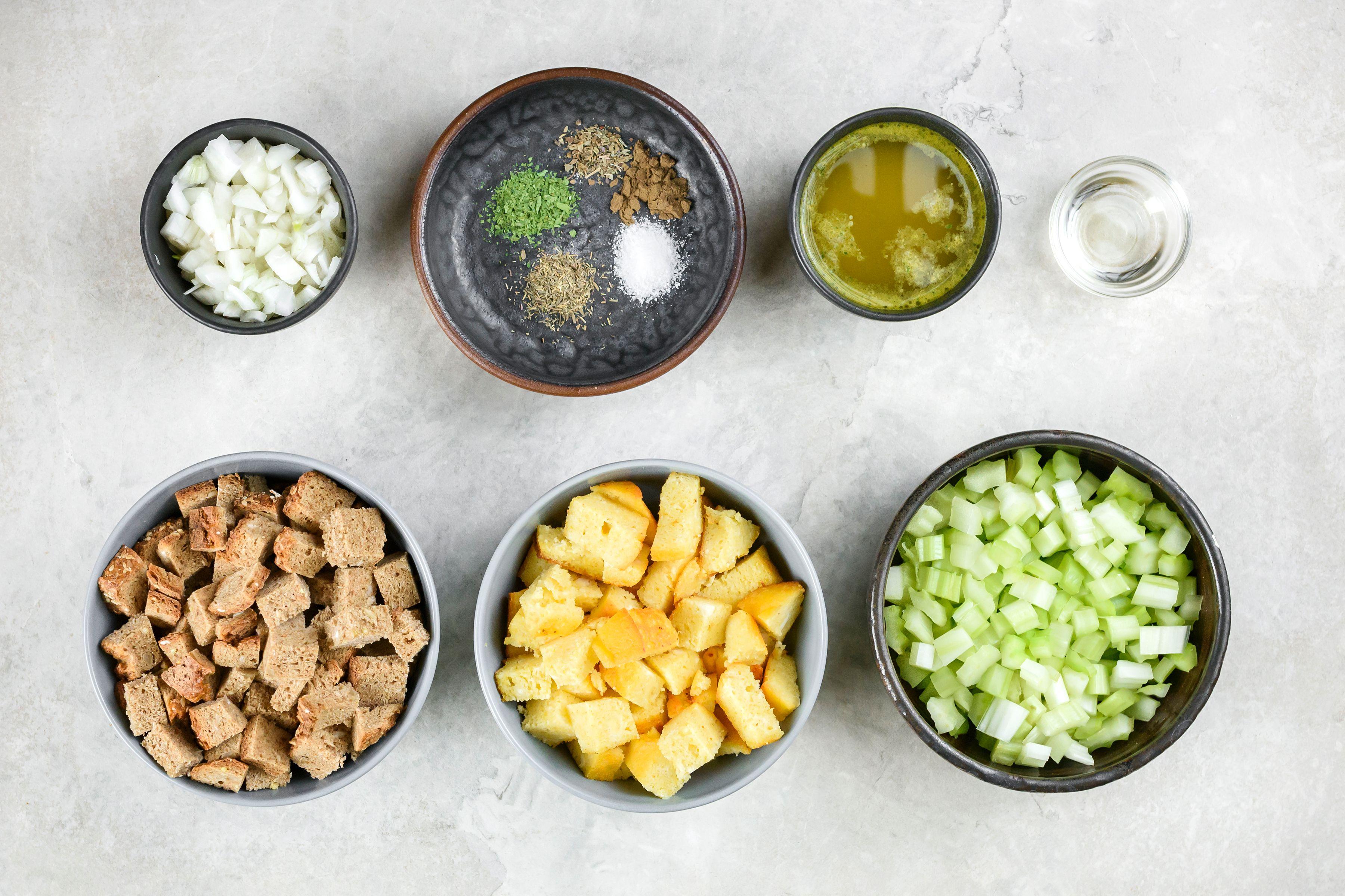 Vegetarian Cornbread Stuffing Recipe ingredients