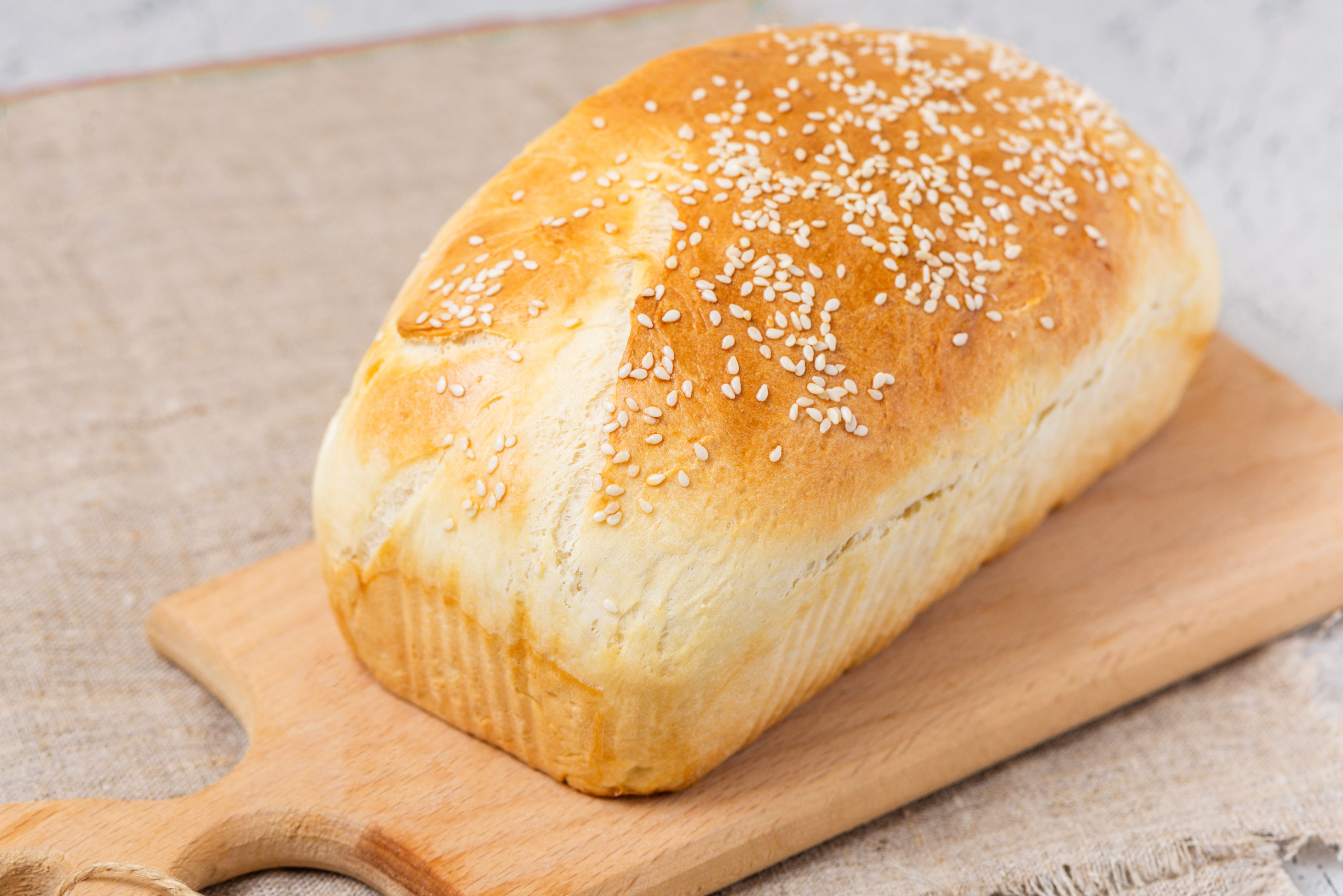 Freshly baked loaf of honey buttermilk bread