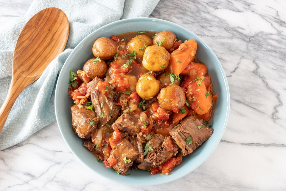 Slow cooker pot roast with potatoes, Italian-style.