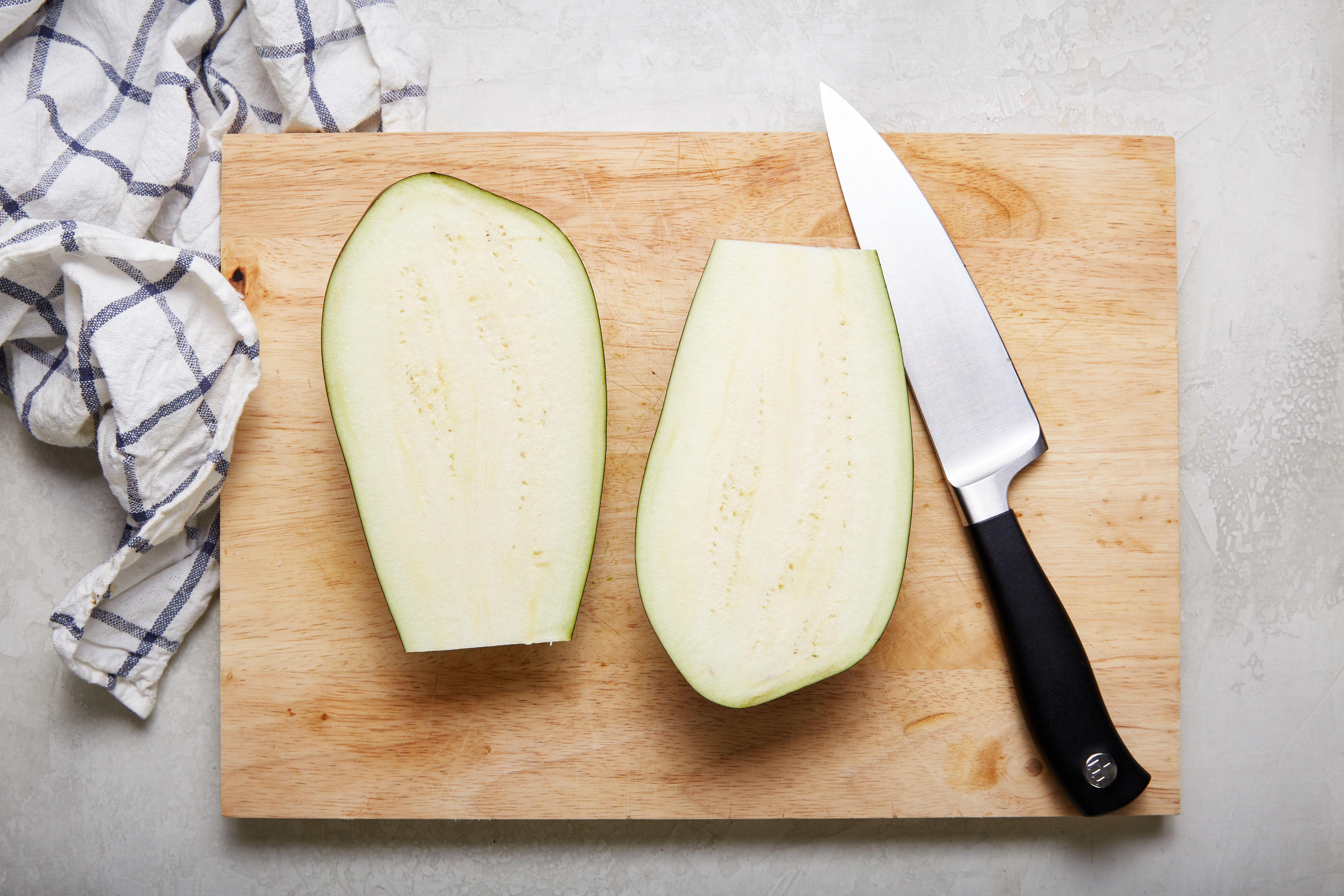 Slice eggplant in half