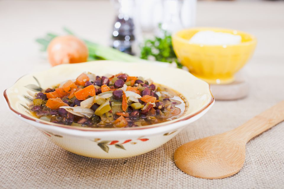 bowl of vegetable and bean soup