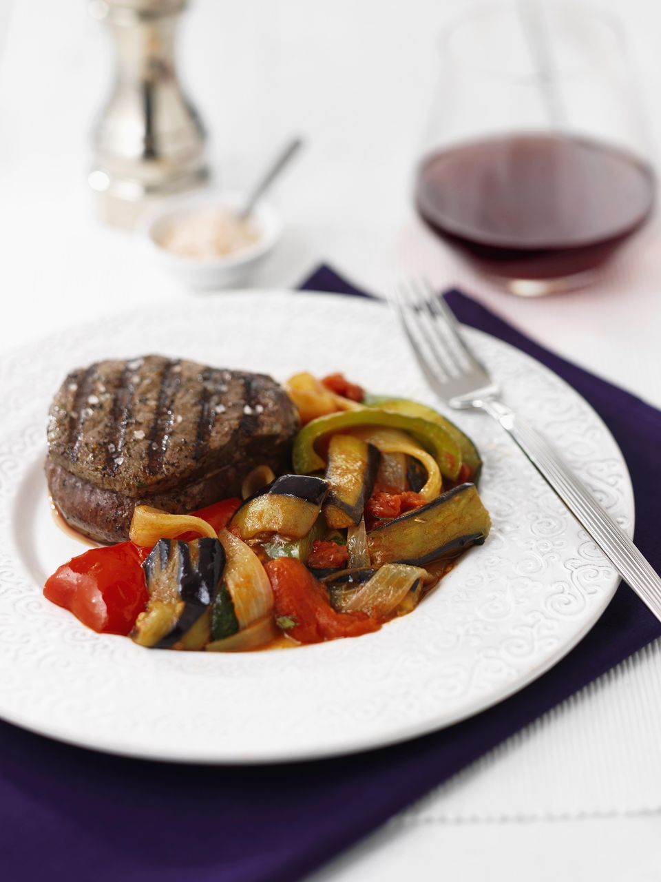 Grilled ratatouille with steak
