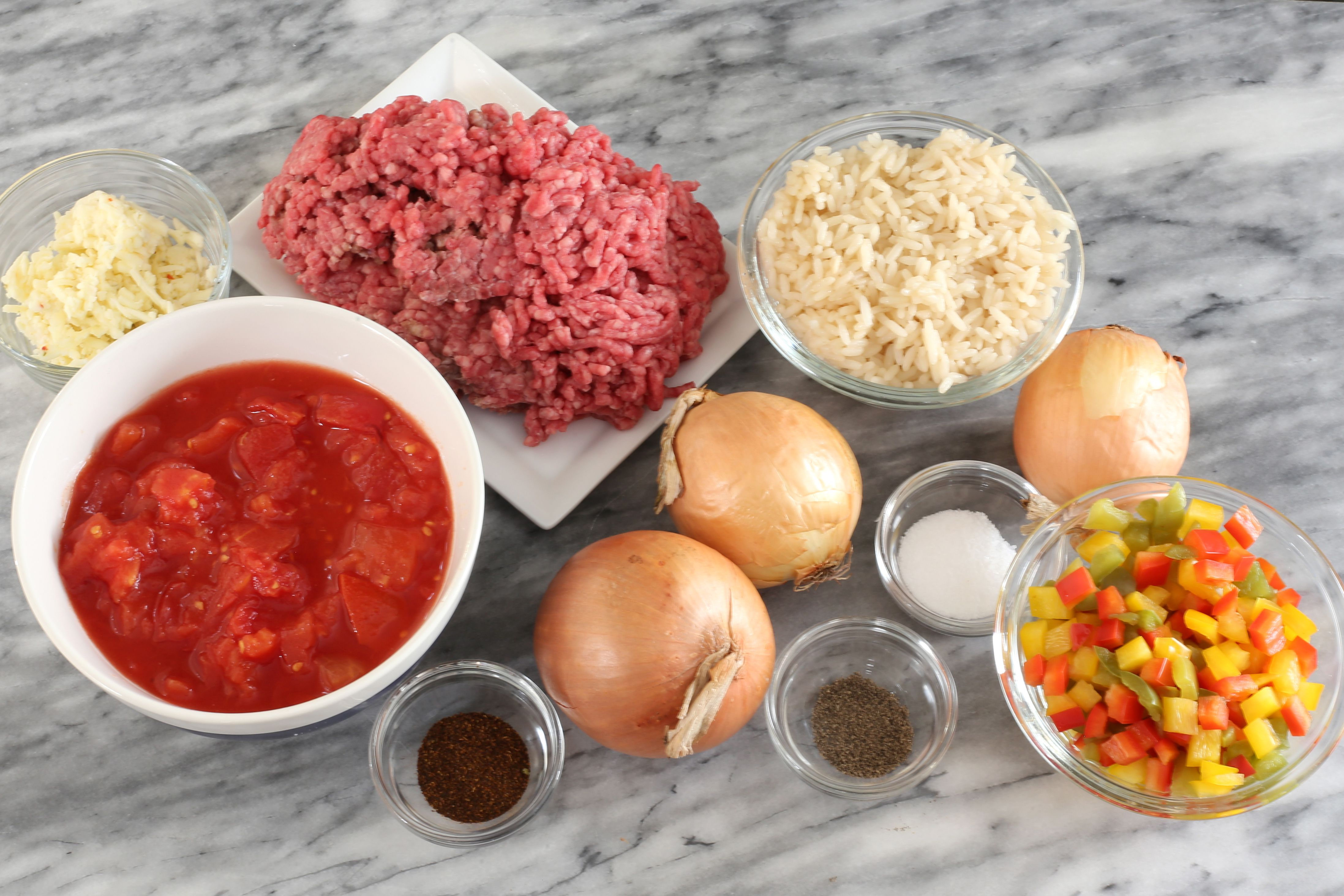 Ingredients for a ground beef and rice casserole.