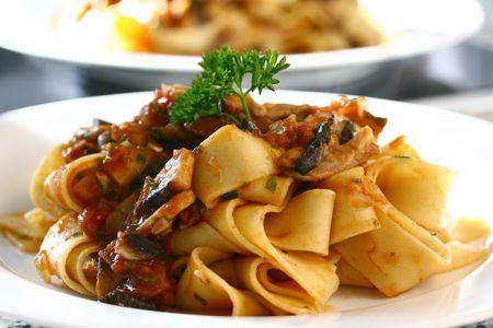 pappardelle pasta in wild mushroom sauce