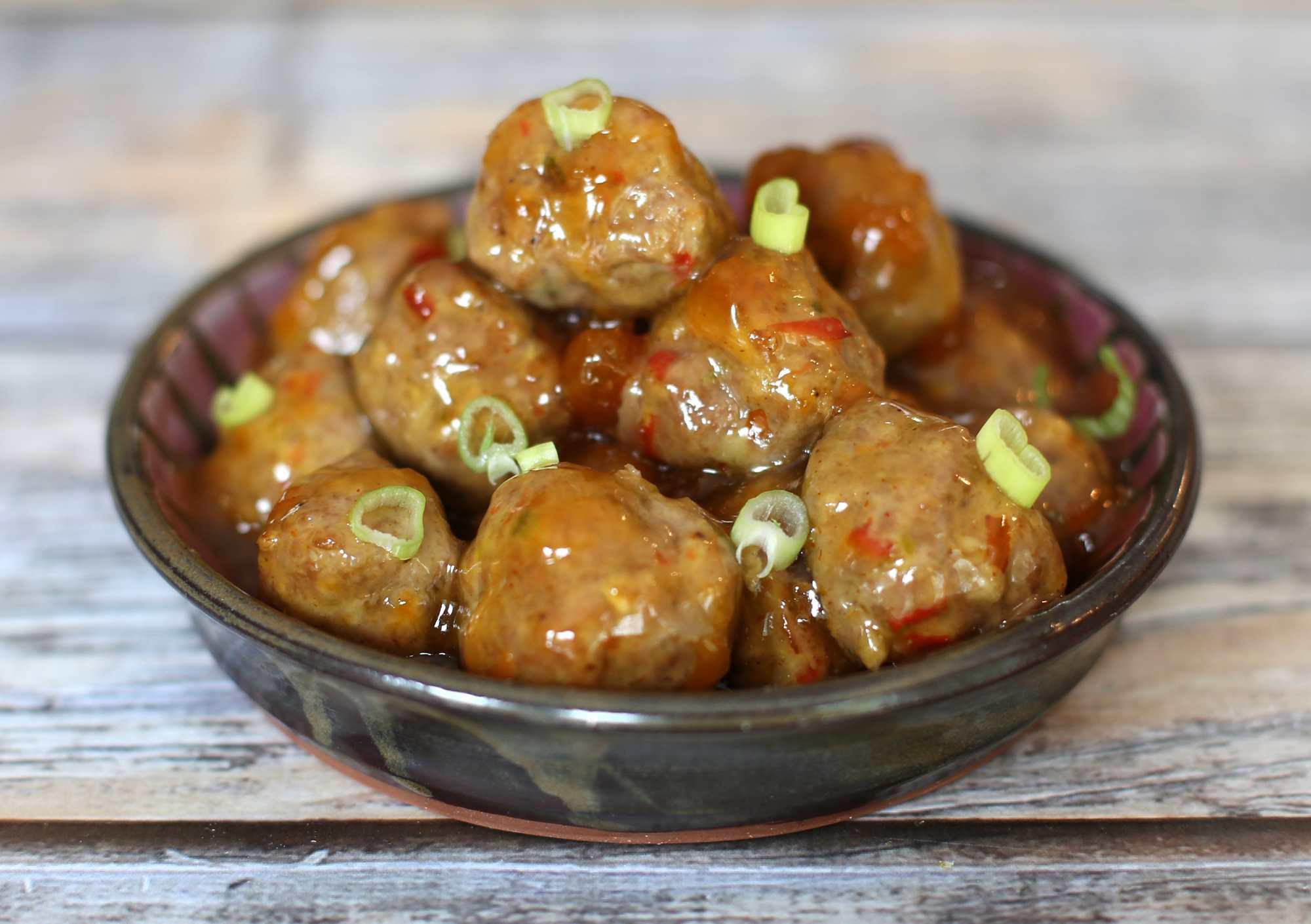 Sweet and Hot Pork Meatballs