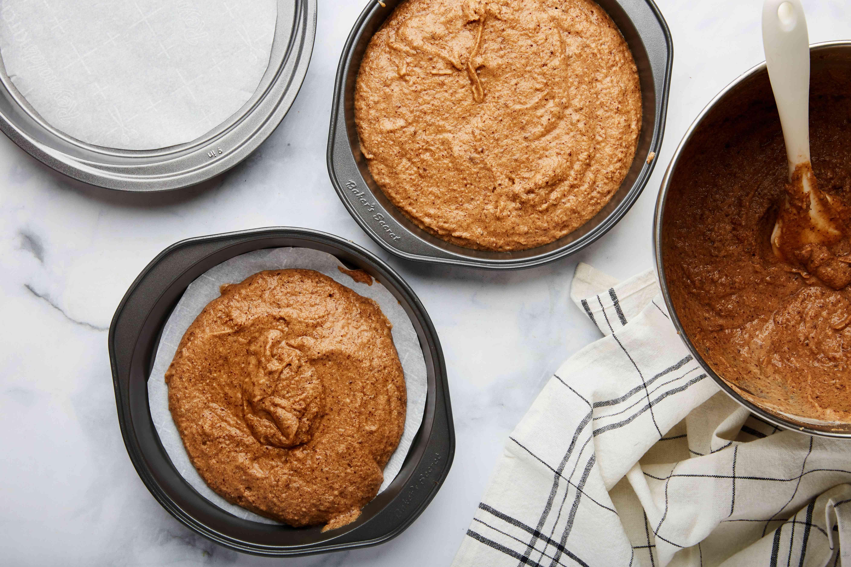 Pour batter into pan