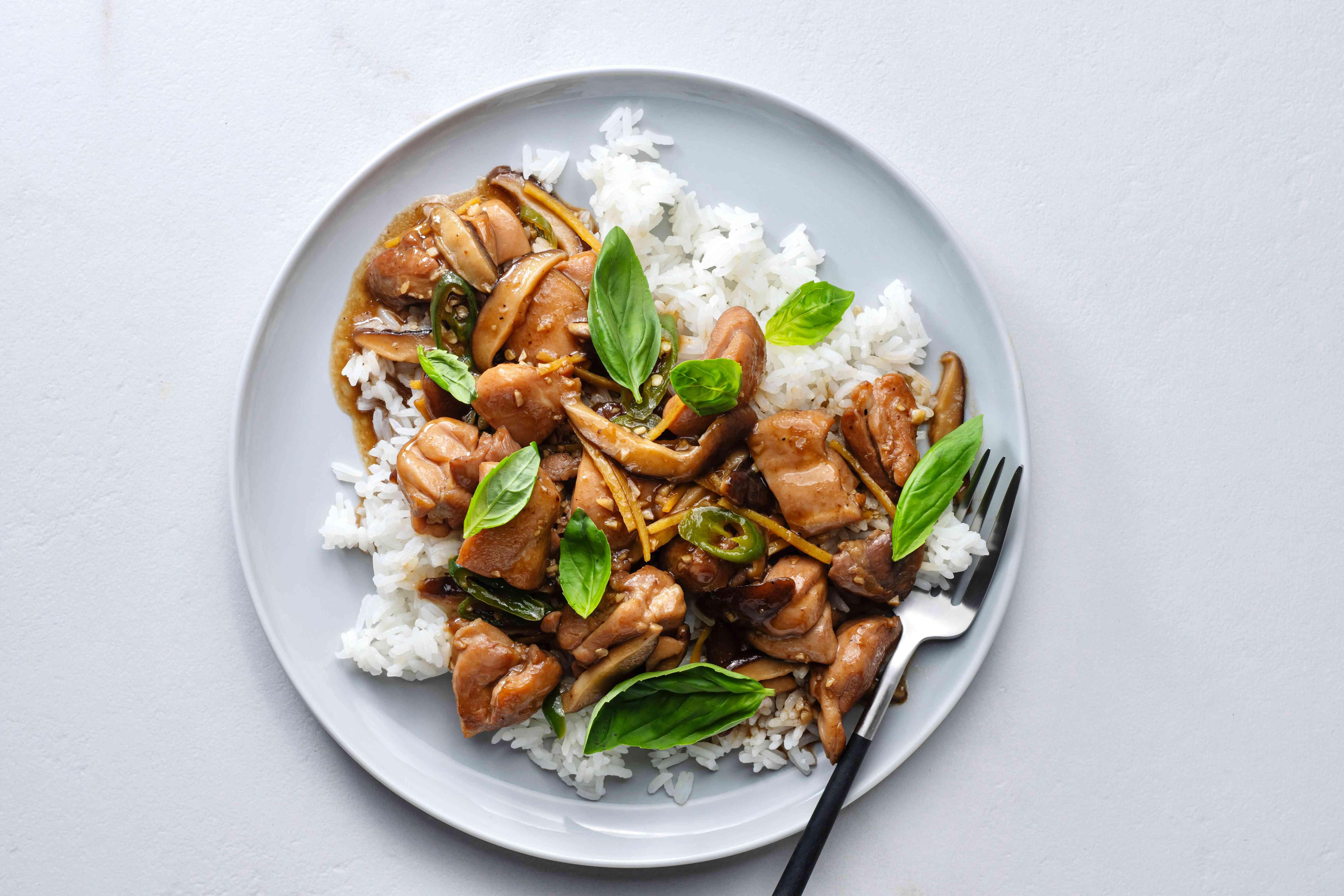 Thai tamarind chicken stir-fry over rice