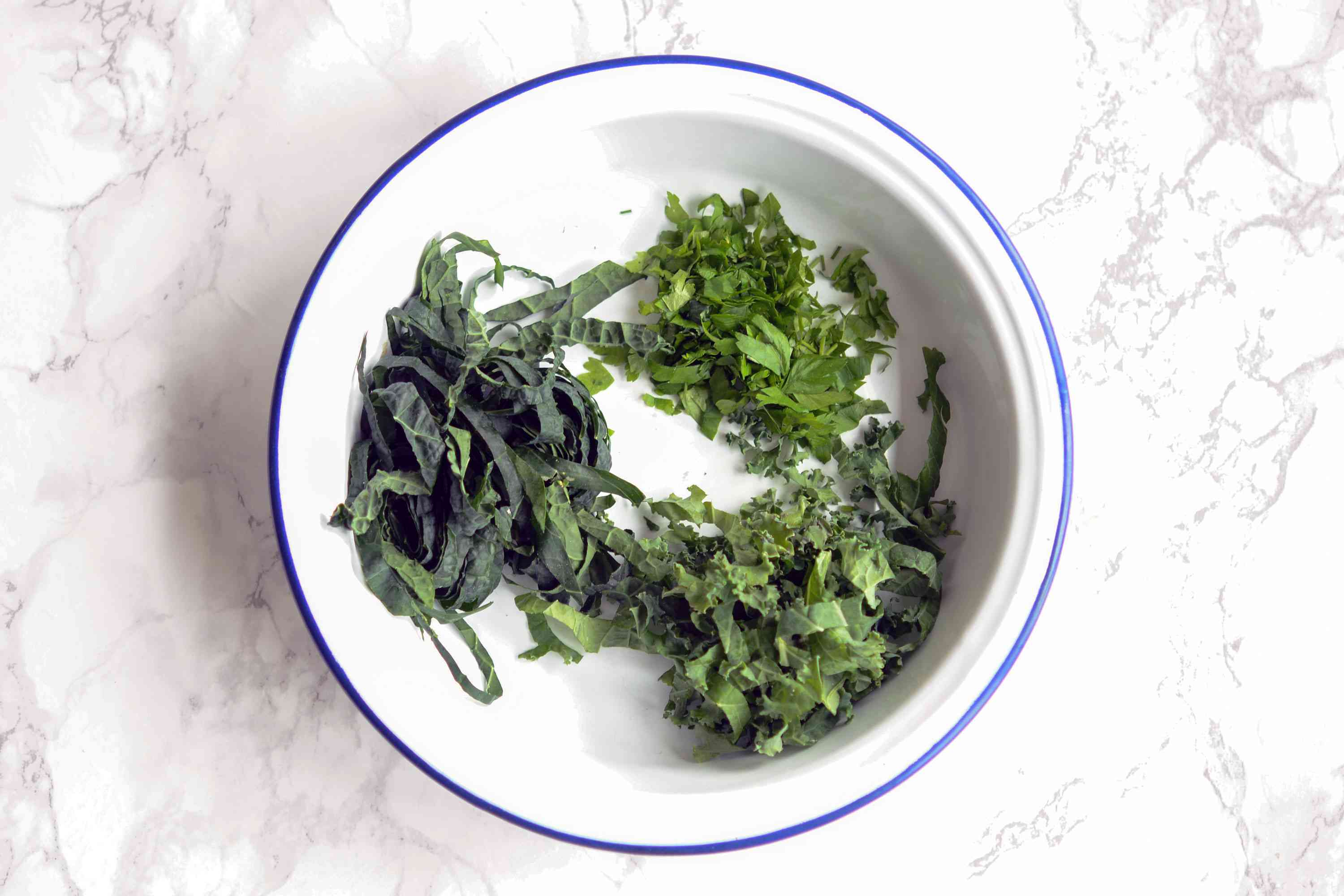 Shredded kale, spring greens, and parsely