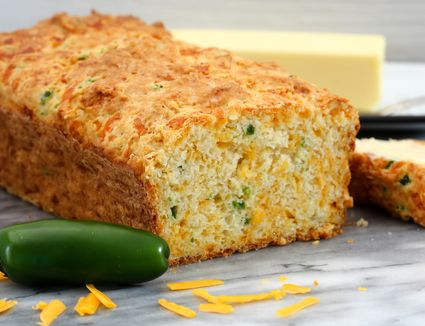 Jalapeno and cheddar cheese quick bread sliced.