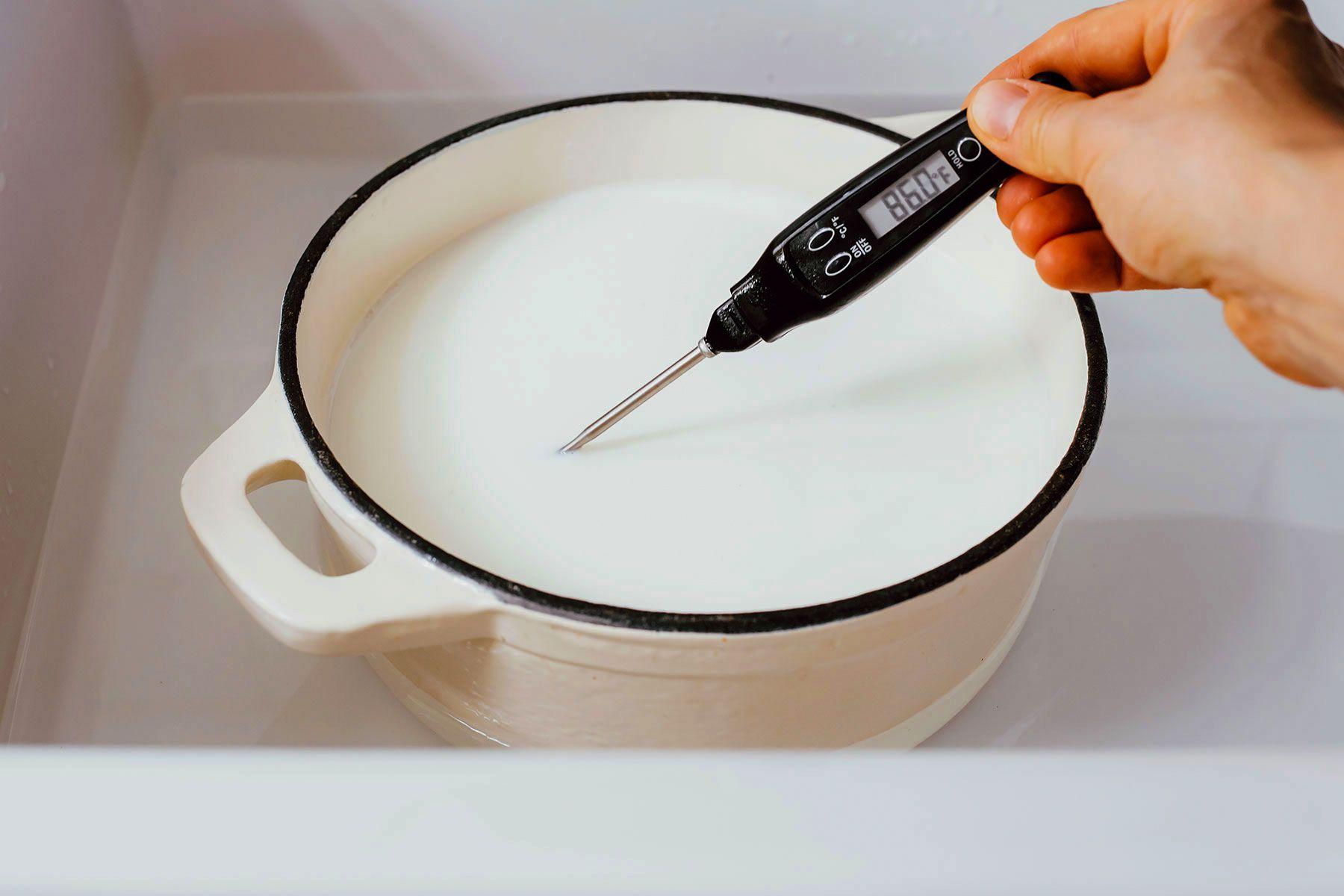heat milk in the pot, check the temperature