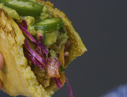 cornbread pulled pork tacos