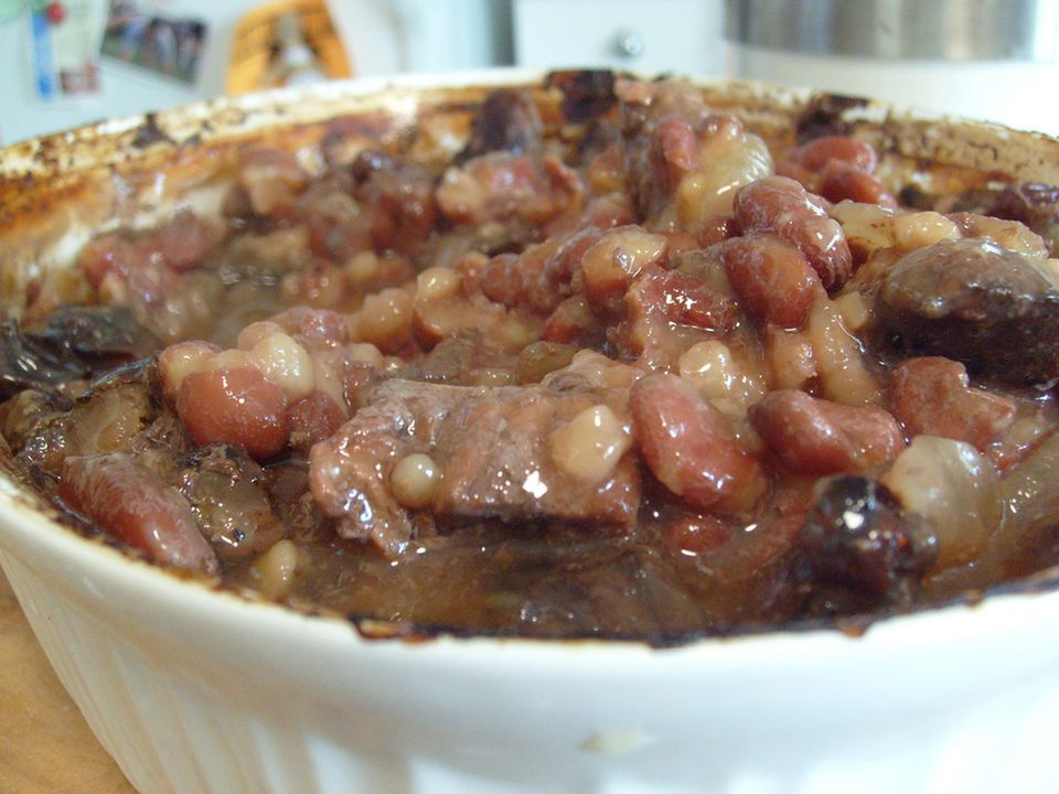A bowl of meat cholent