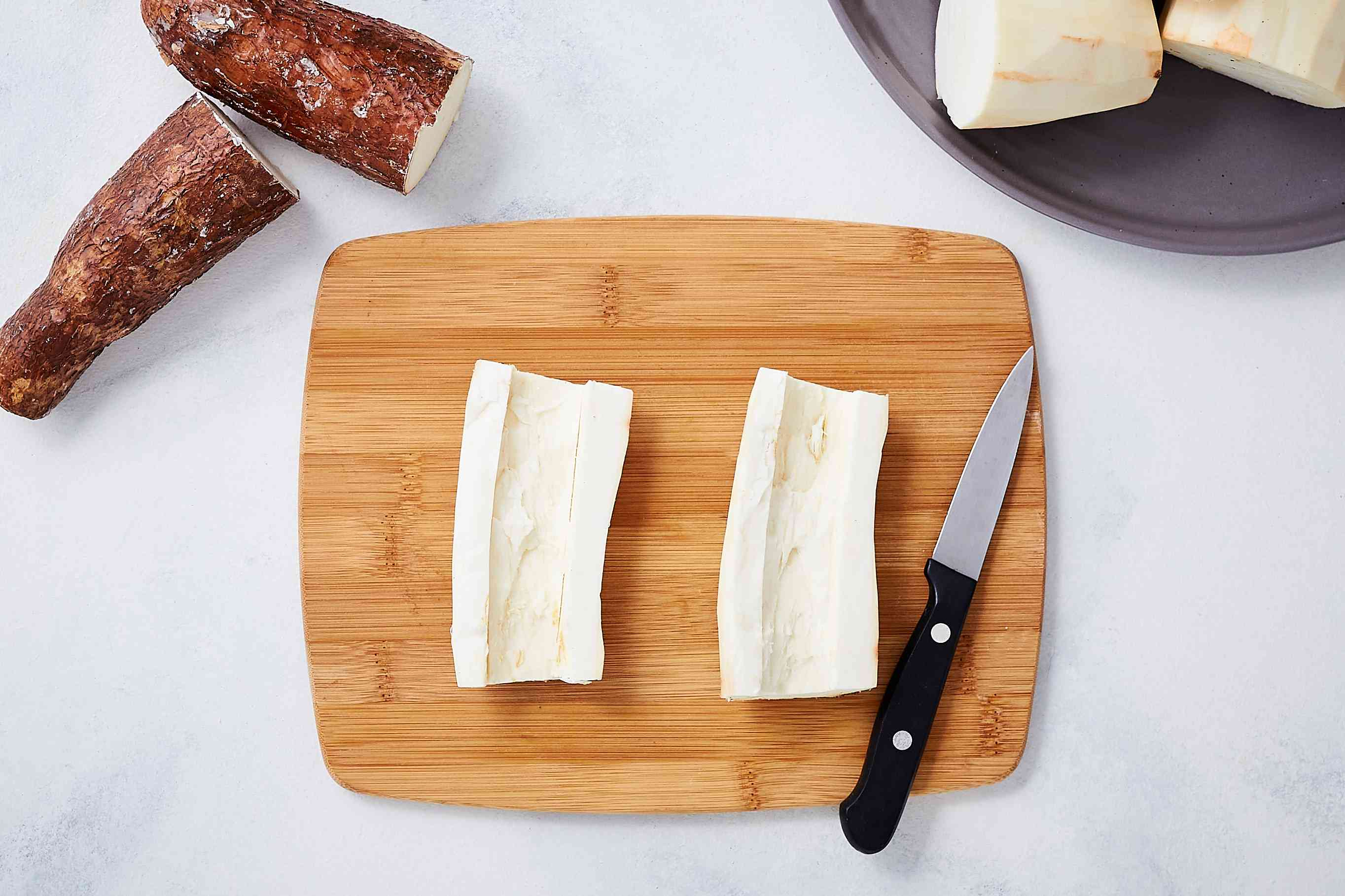 remove the yuca core with a knife