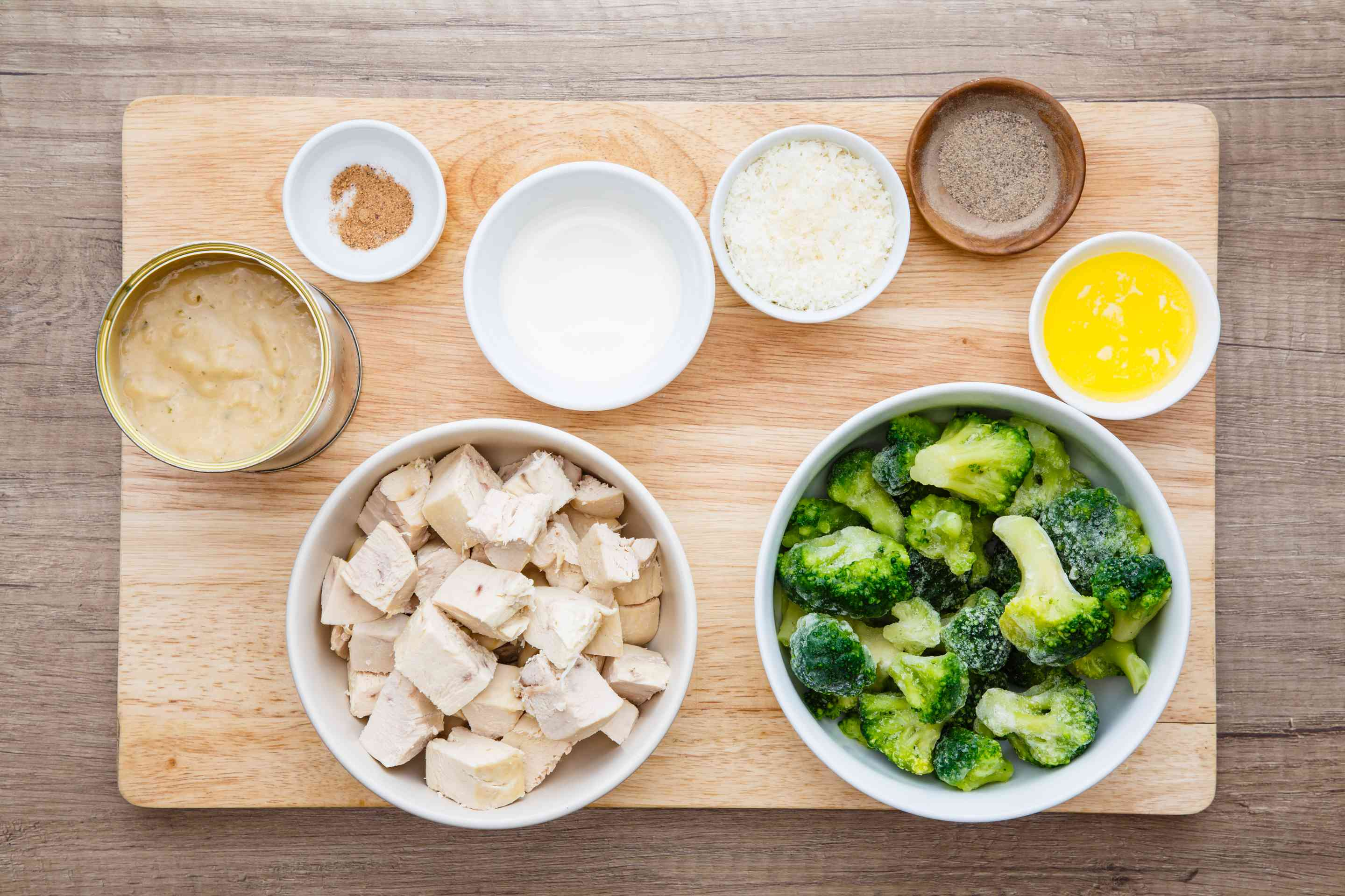 Ingredients for chicken and broccoli casserole