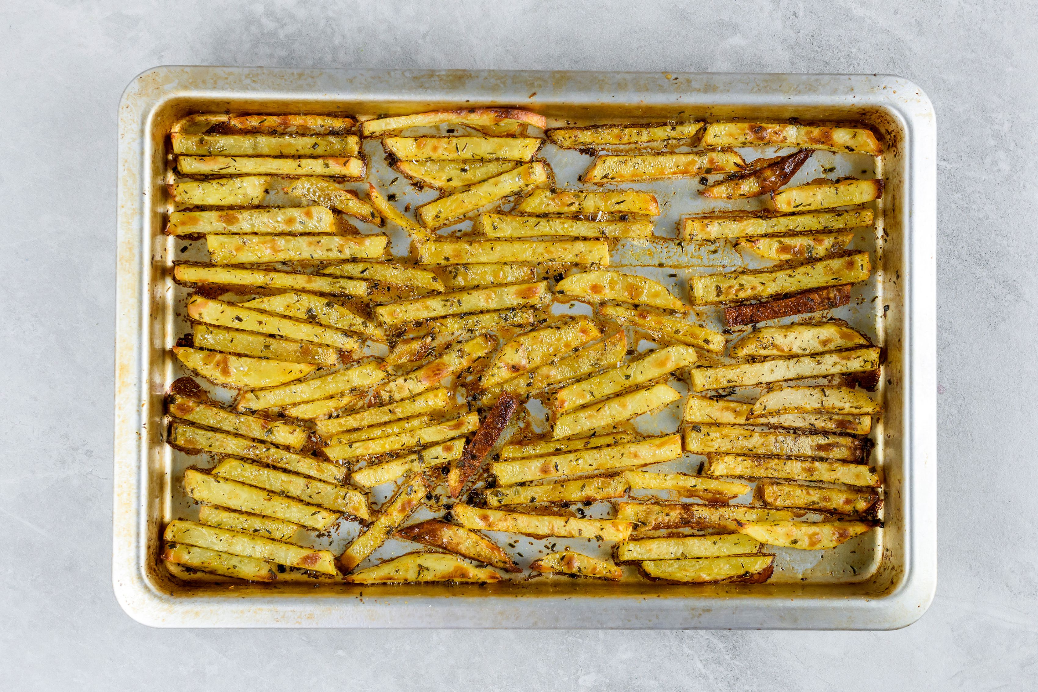 Oven fries baked until brown and crispy