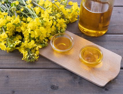 A cutting board with two small bowls of canola oil and rapeseed flowers.