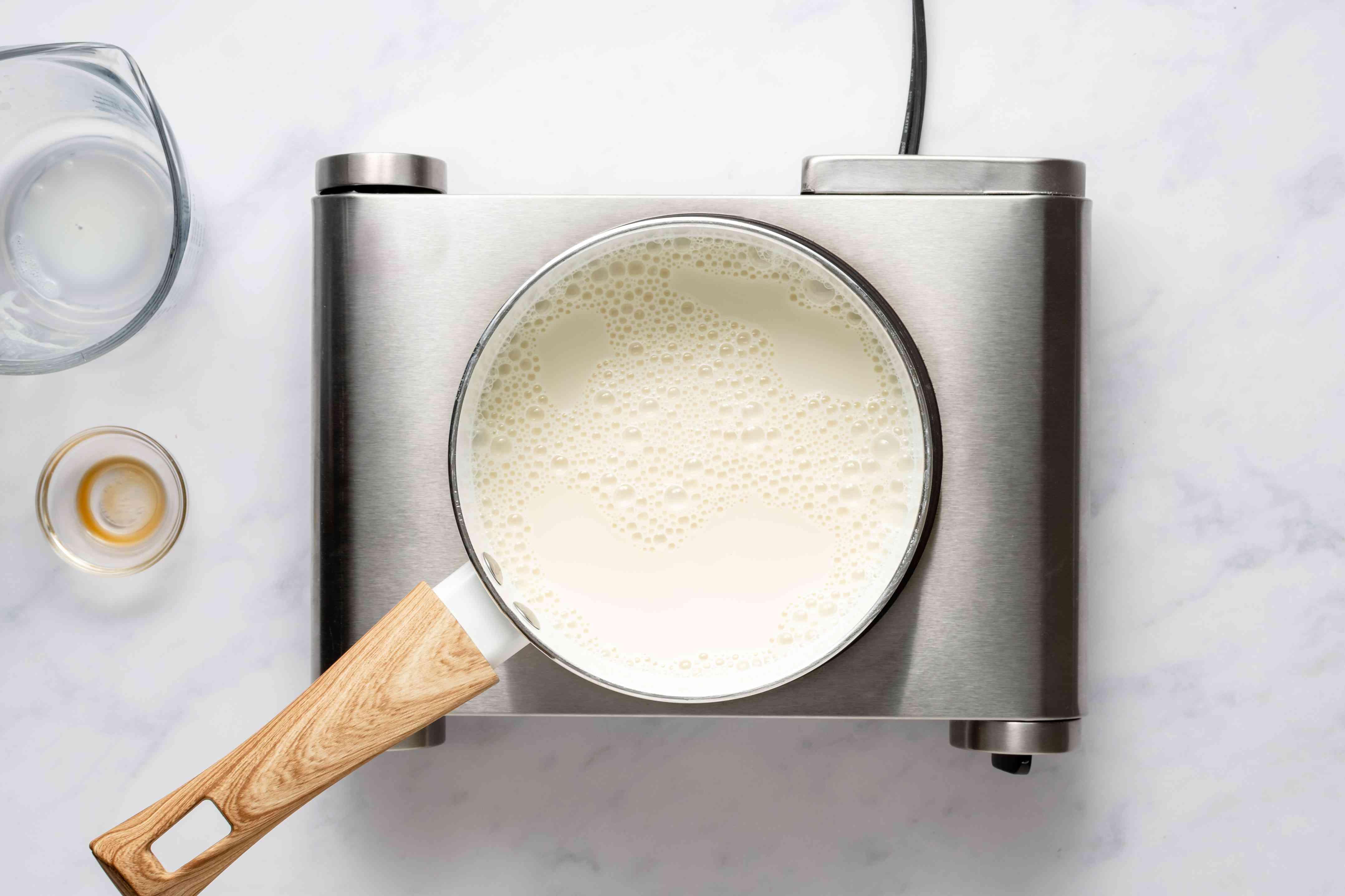 milk and vanilla in a saucepan
