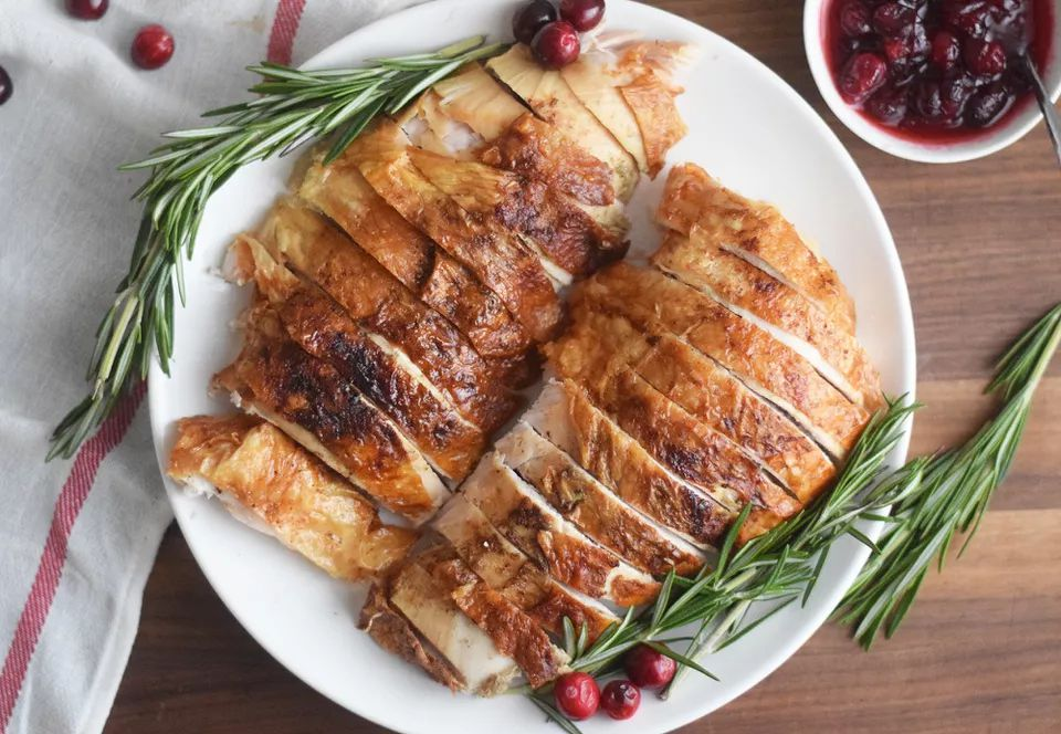 Air fryer turkey on a white plate