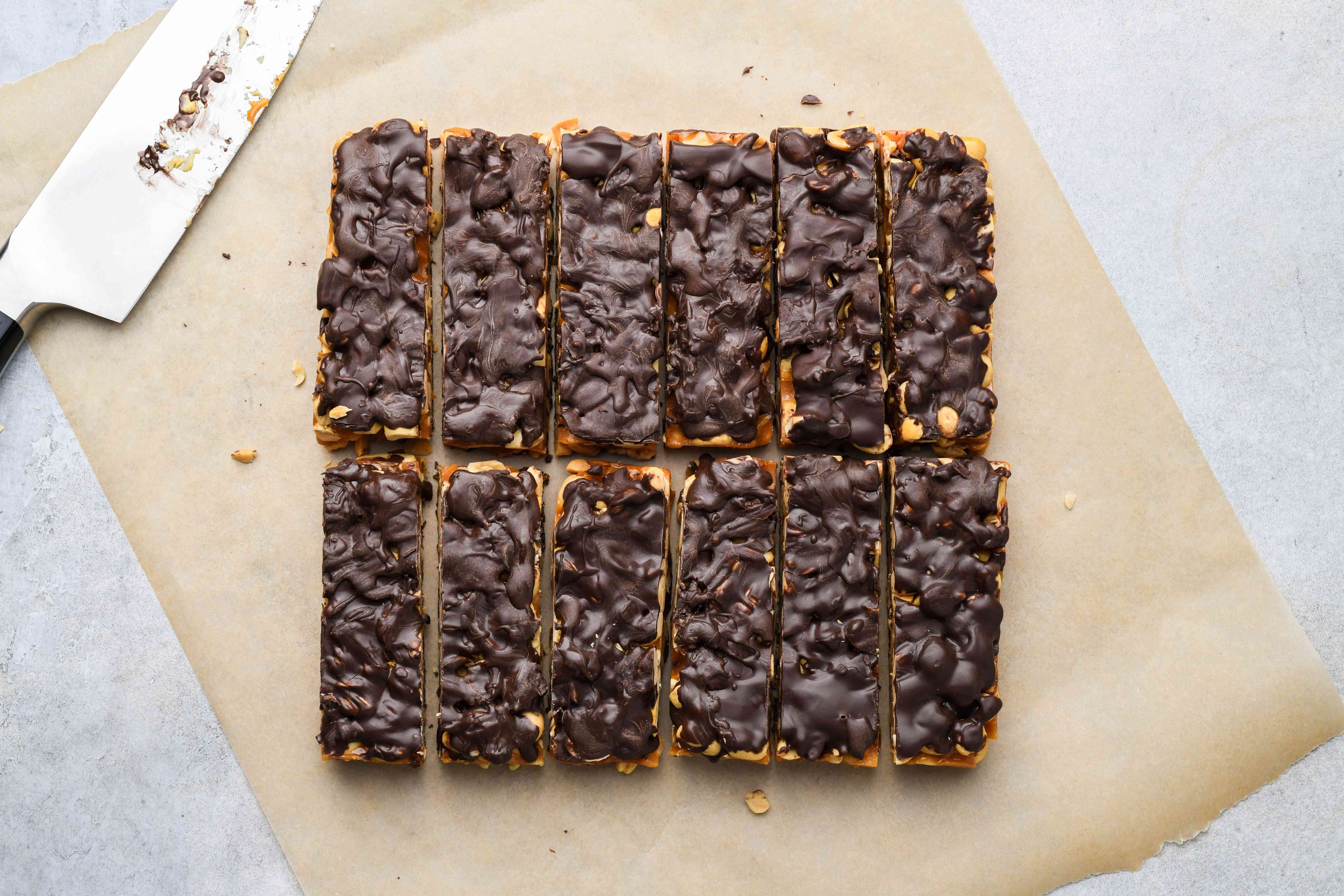 Cut the candy into bars once the chocolate is set on both sides