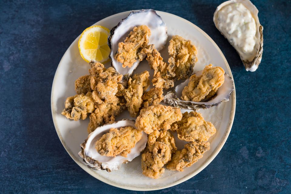 Fried oysters with cornmeal batter recipe