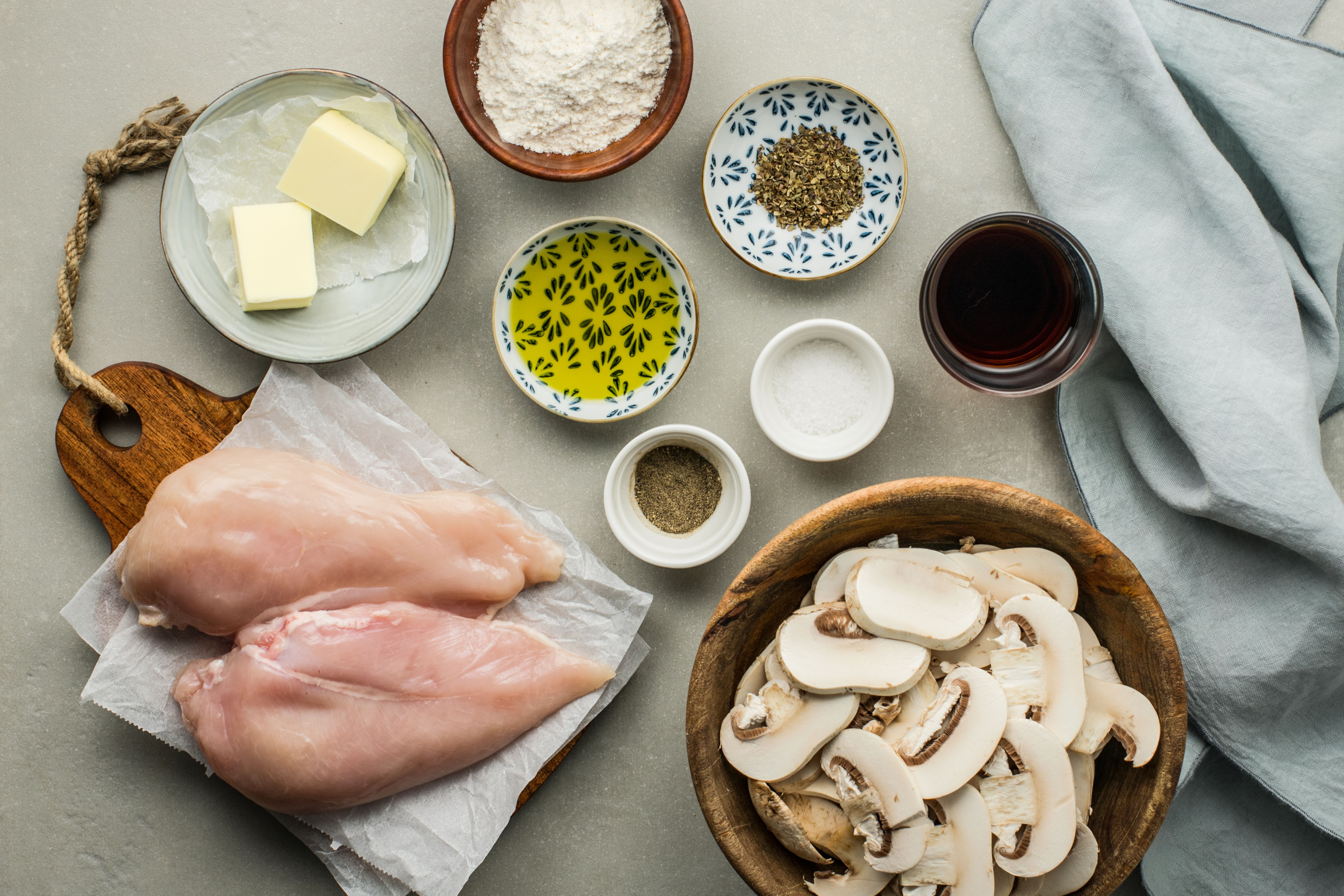 Ingredients for chicken marsala recipe