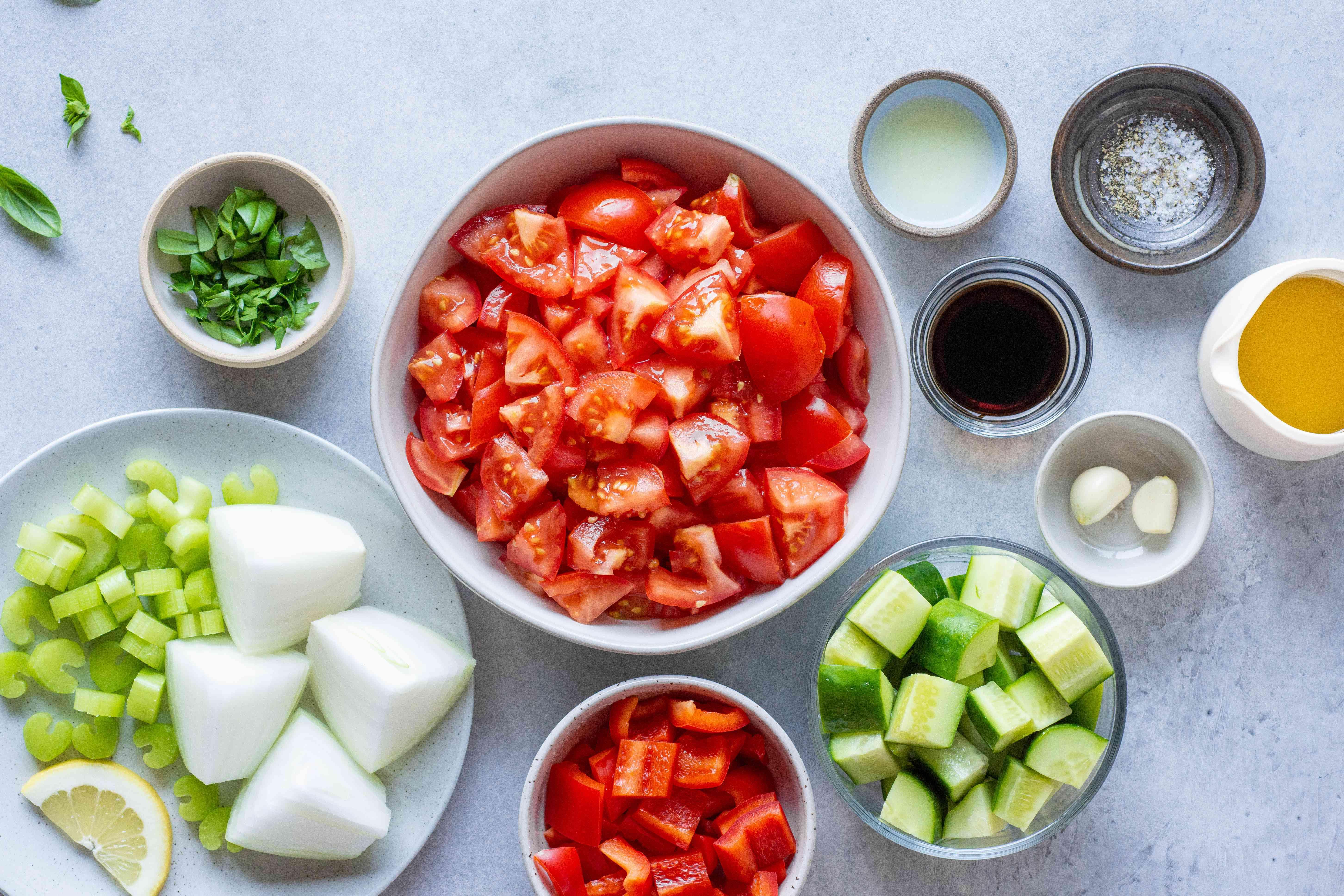 Ingredients for vegan gazpacho