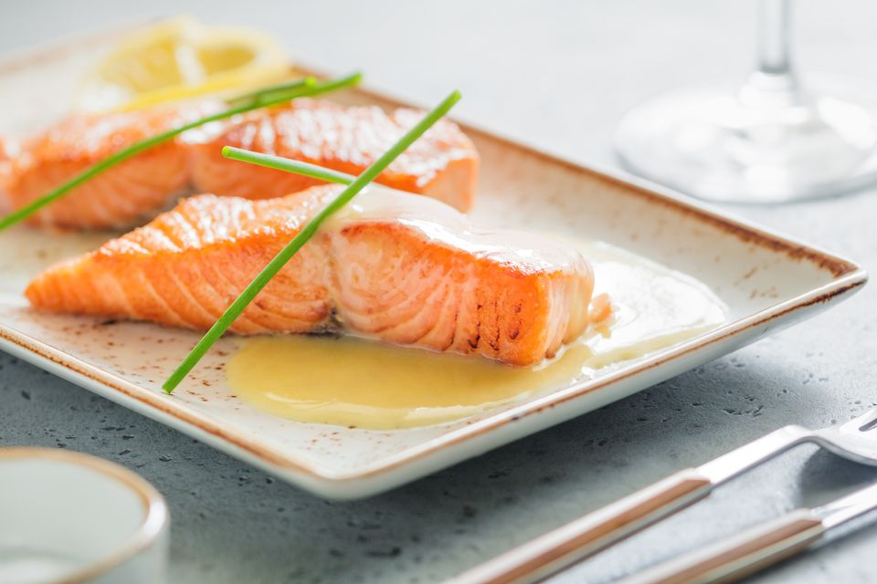 Beurre Blanc sauce on salmon