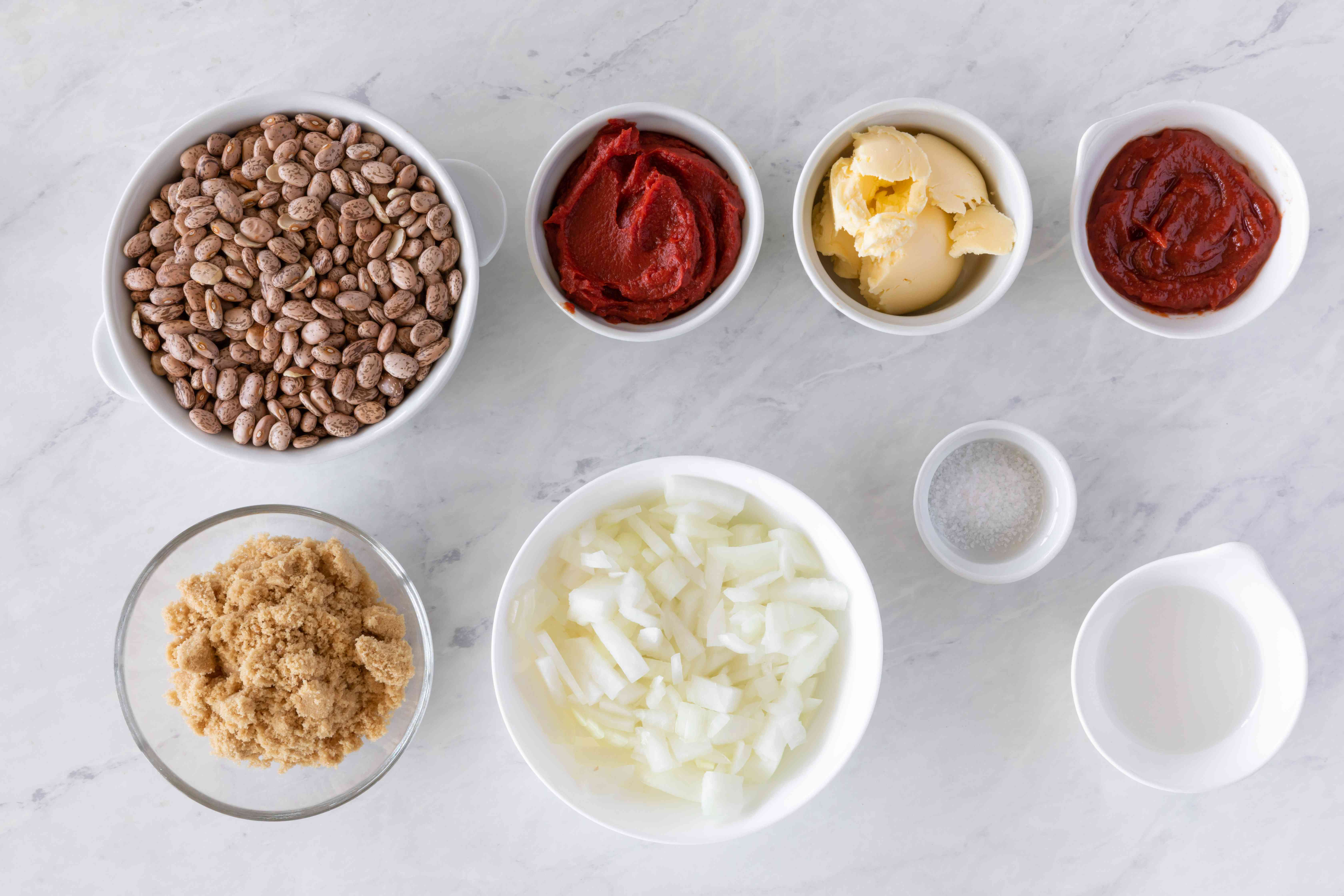 Ingredients for crock pot vegetarian baked beans