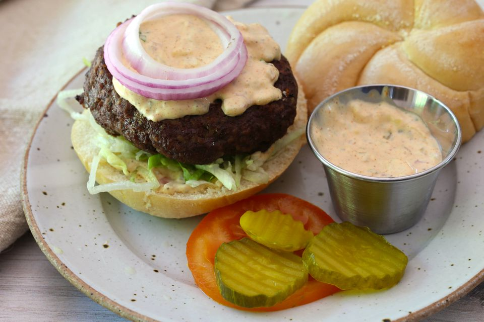 Cajun burger with remoulade sauce.