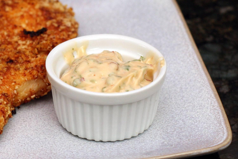 Chipotle mayonnaise as a dip in a ramekin