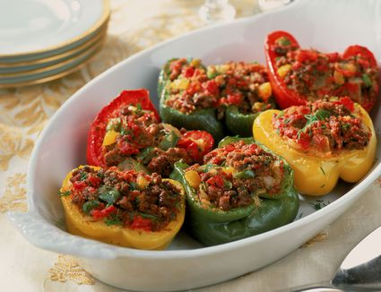 Stuffed Peppers With Ground Beef and Corn