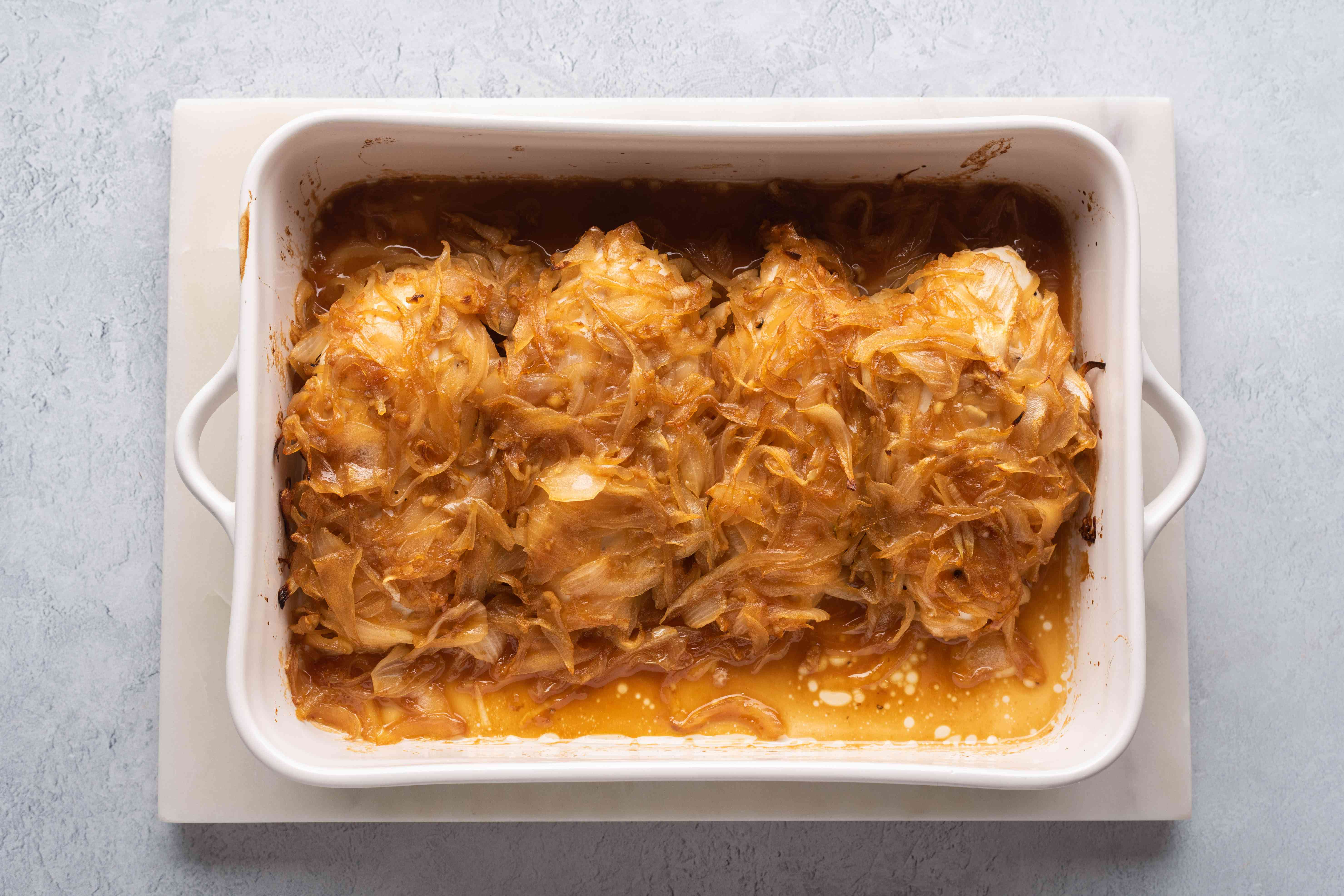 baked chicken in a baking dish