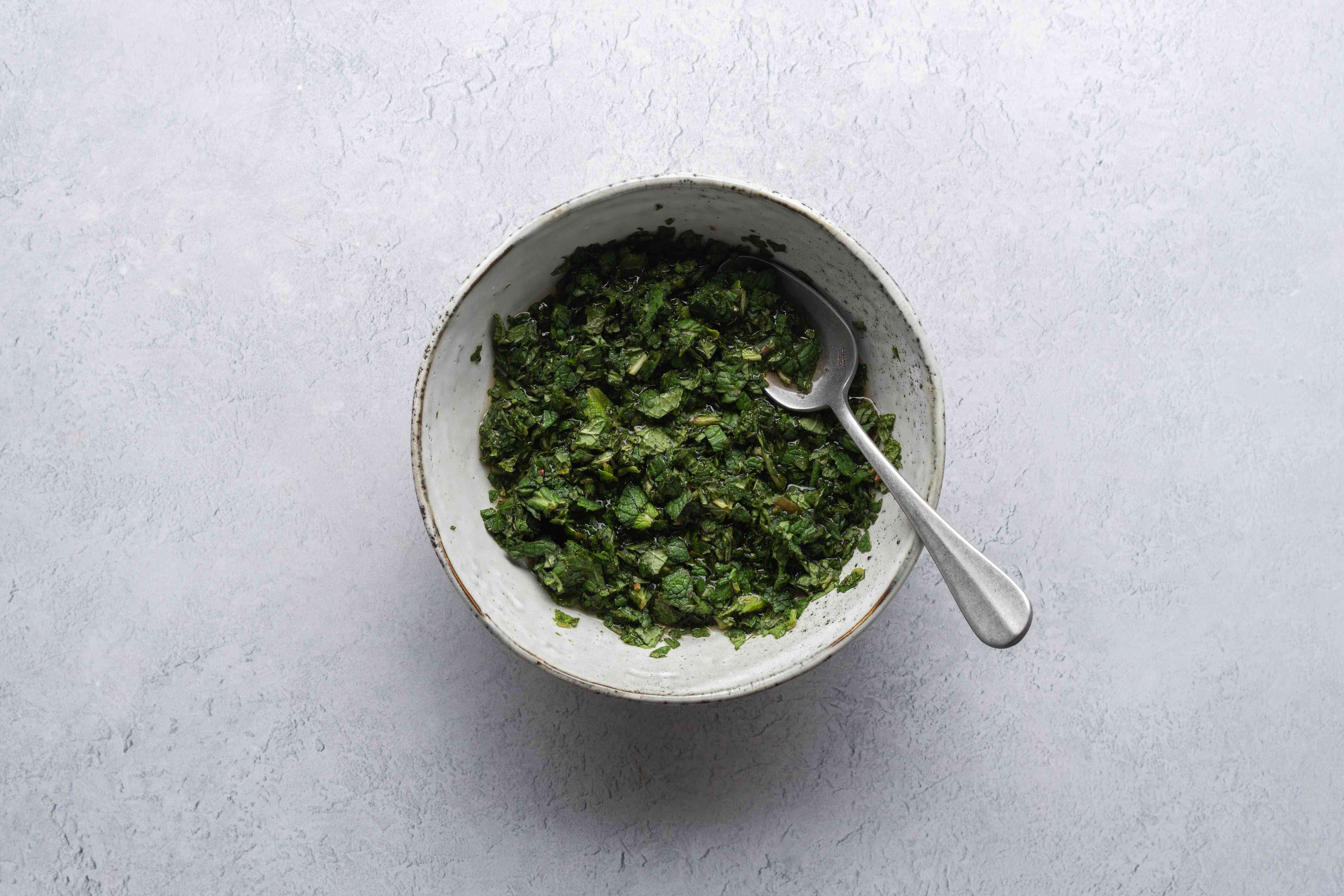 Homemade Mint Sauce in a bowl