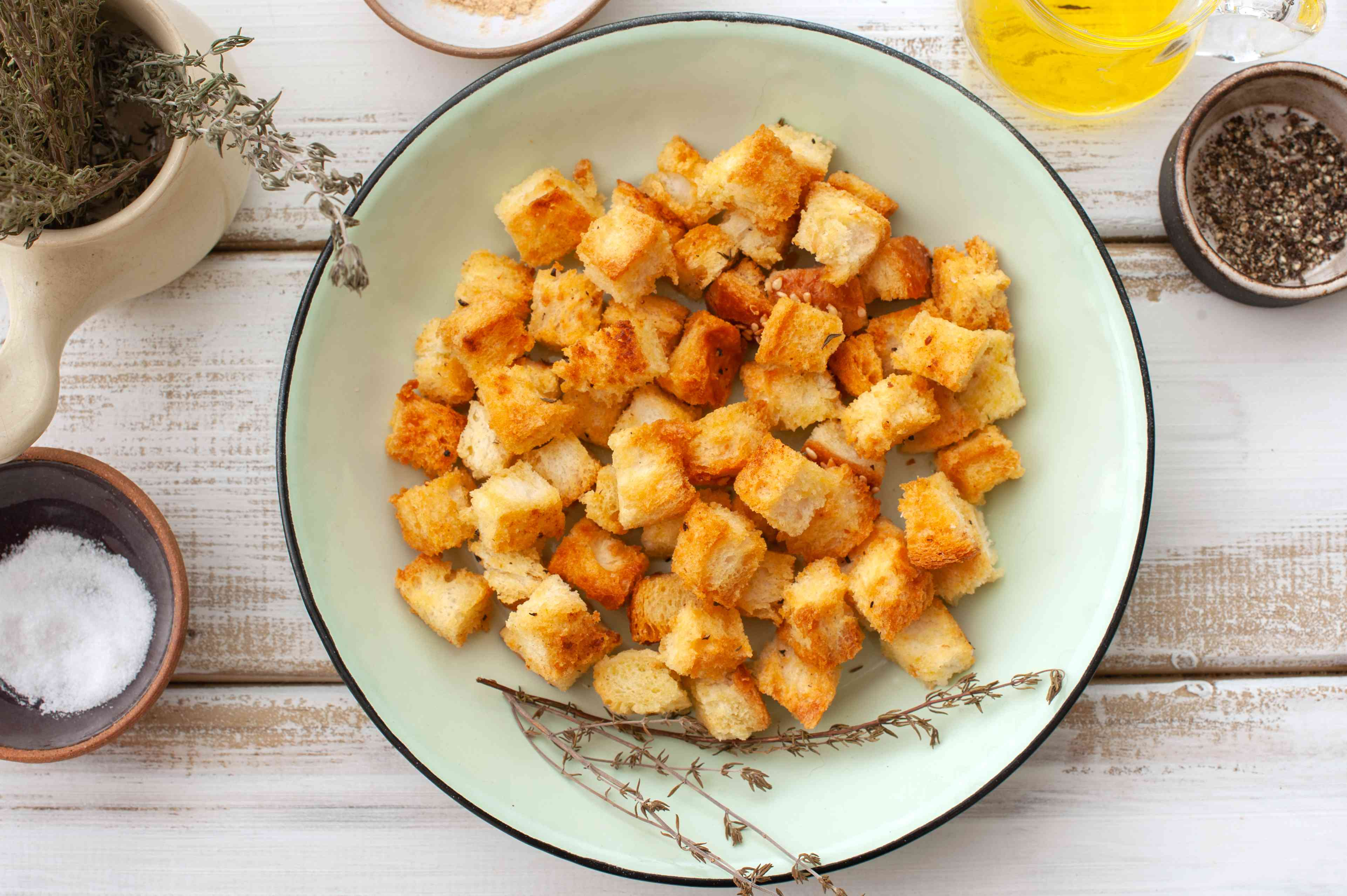 Baked croutons in a bowl