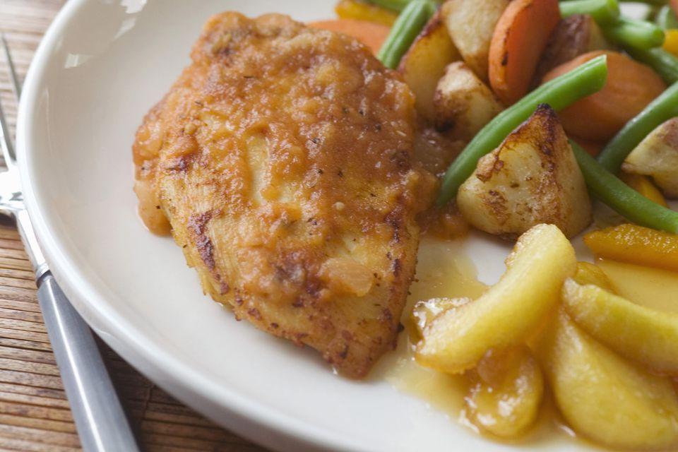 Sartén Pechugas de pollo con manzanas
