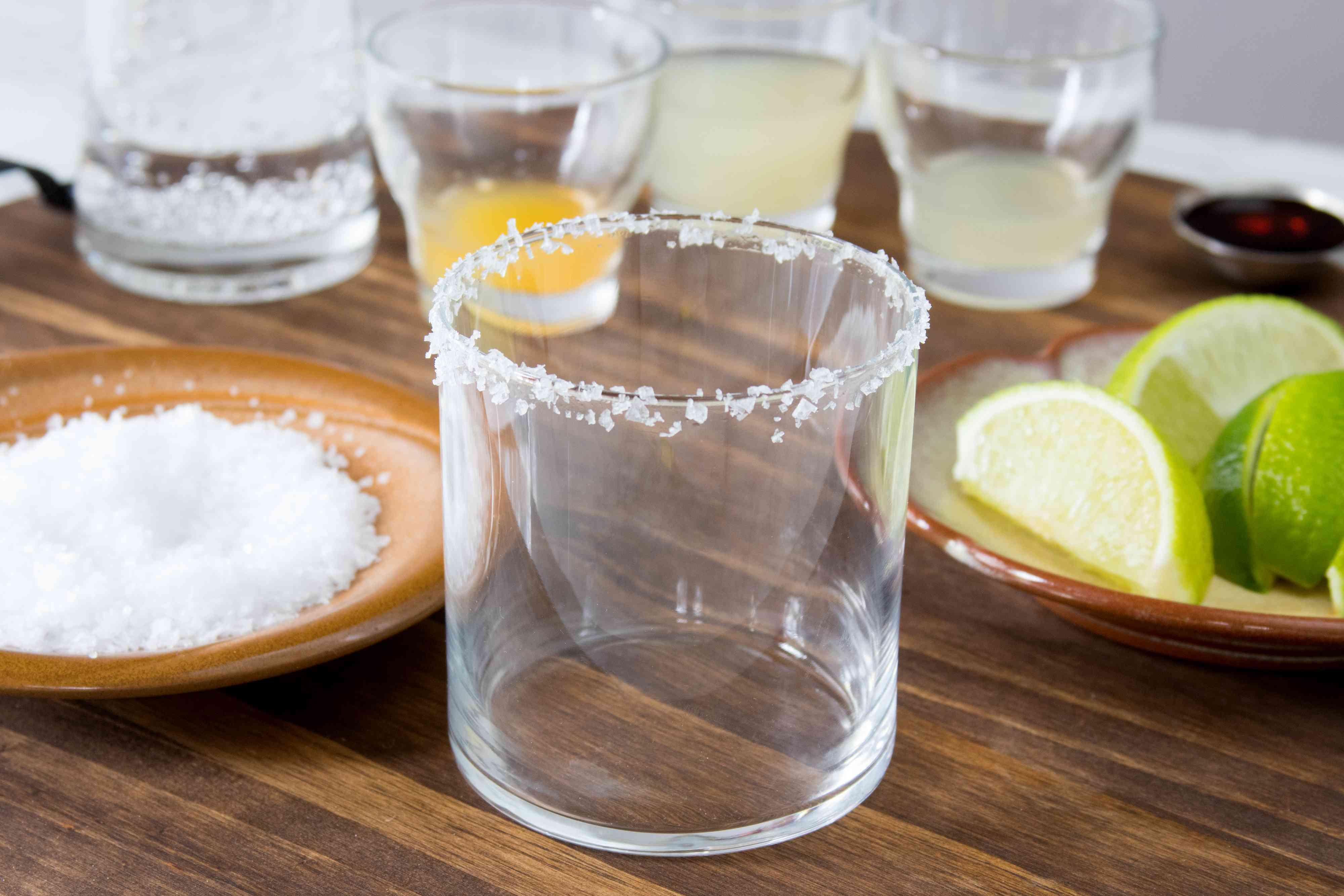 Rimming a Virgin Margarita Glass With Salt