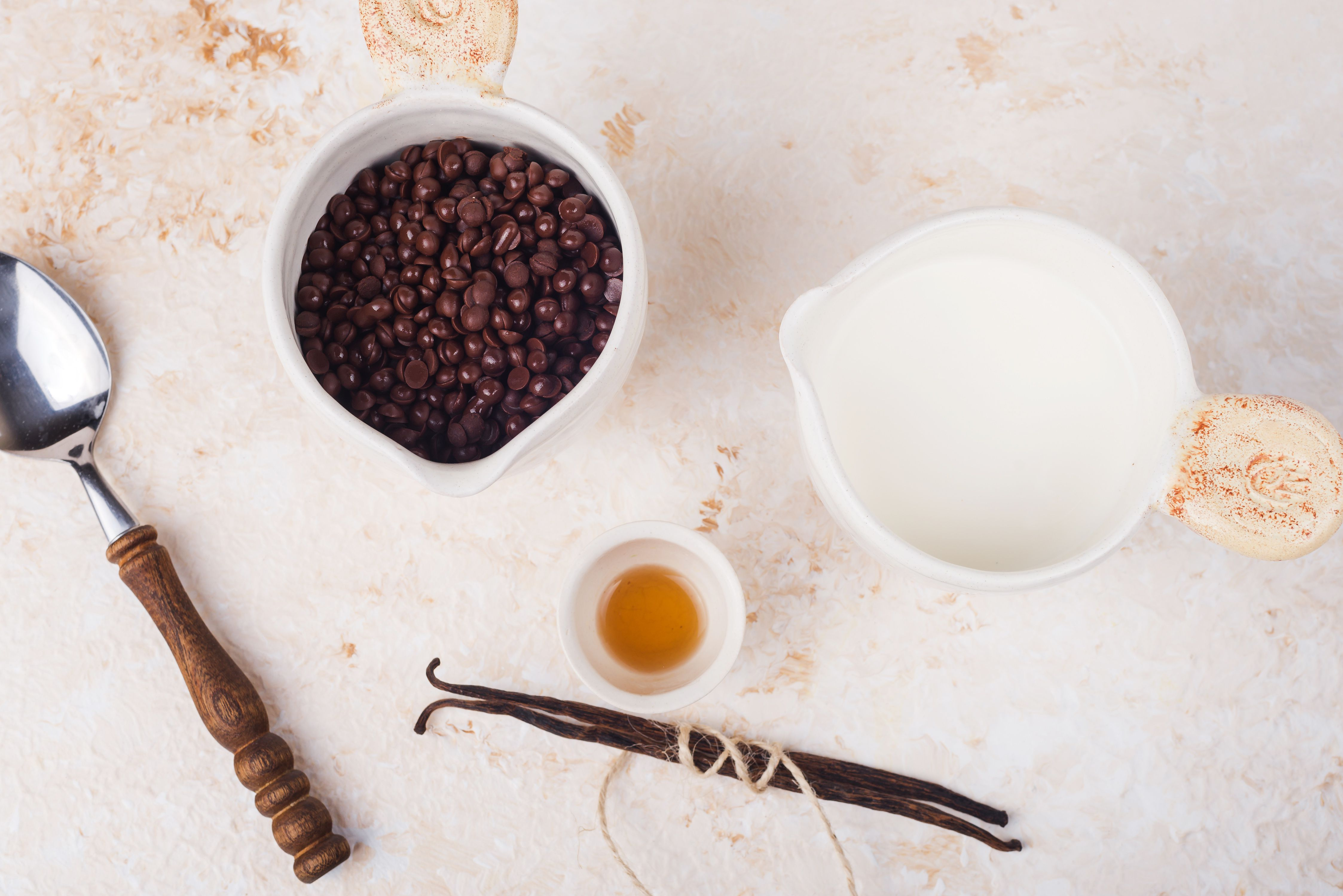 Ingredients for chocolate sauce