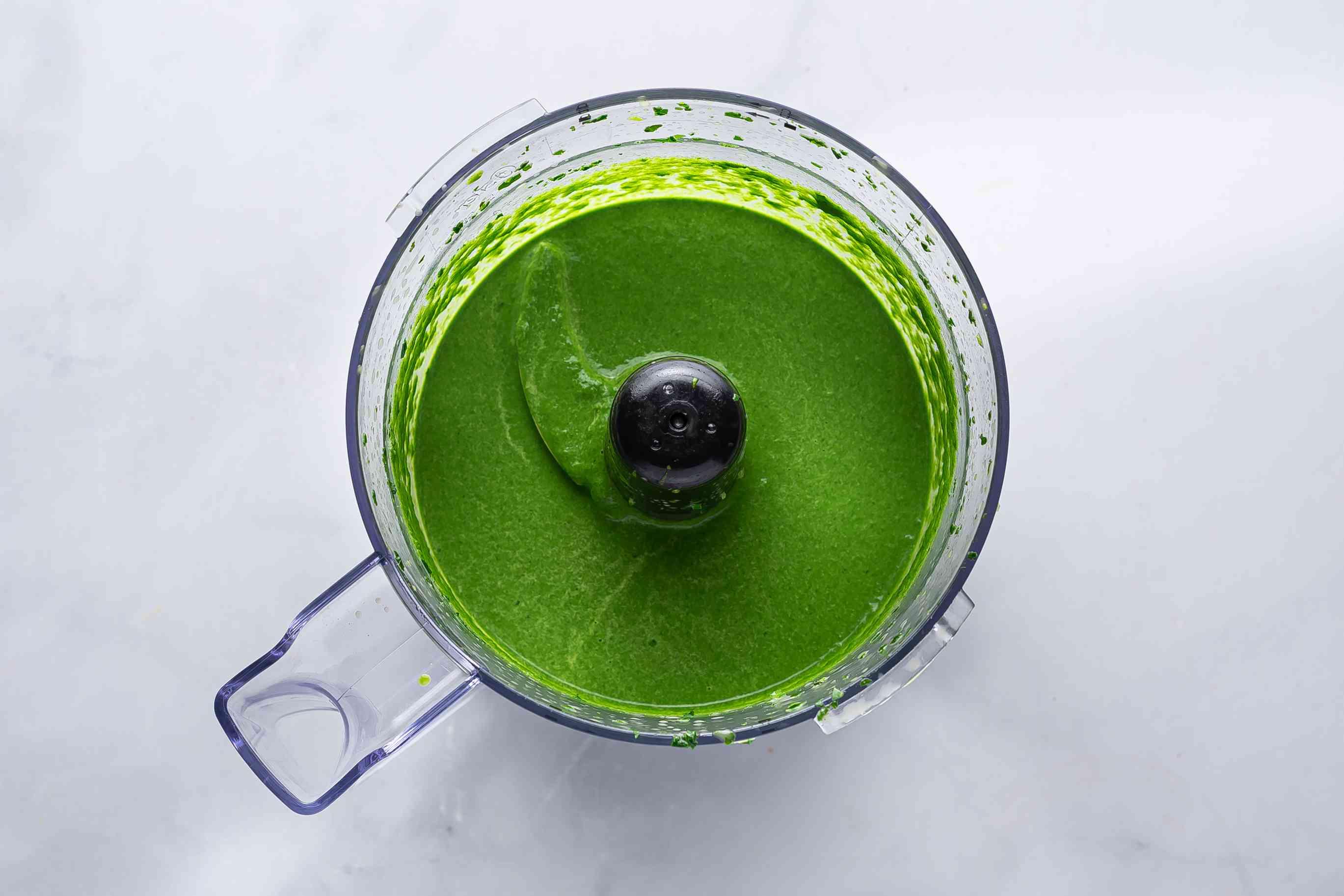 coriander, fenugreek, and mint mixture in a food processor