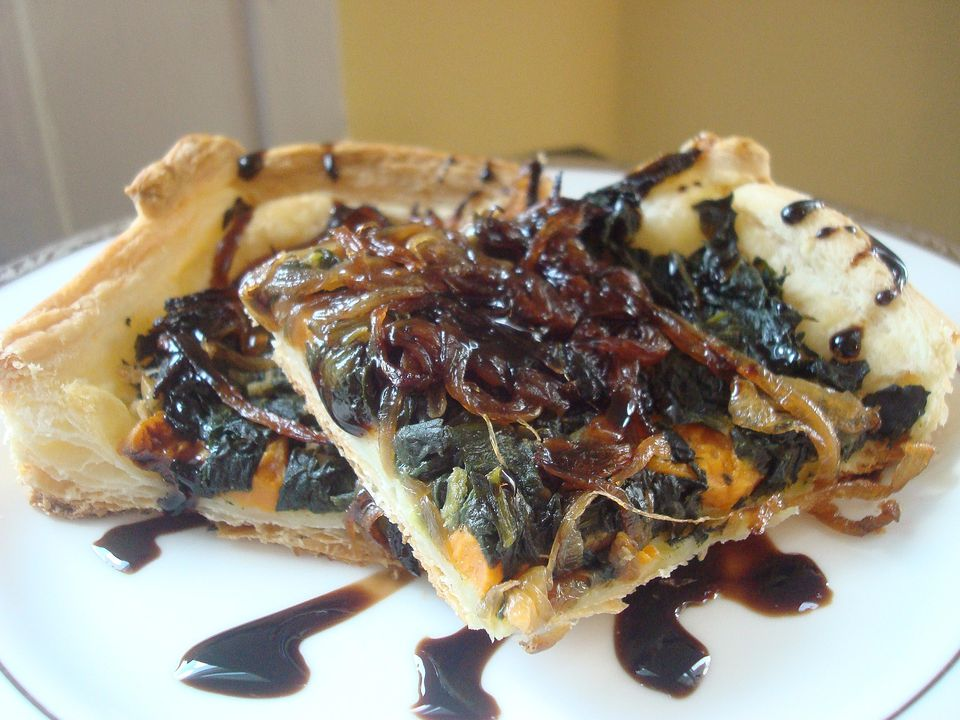 Sweet Potato, Spinach, and Onion Tart Recipe (Pareve)