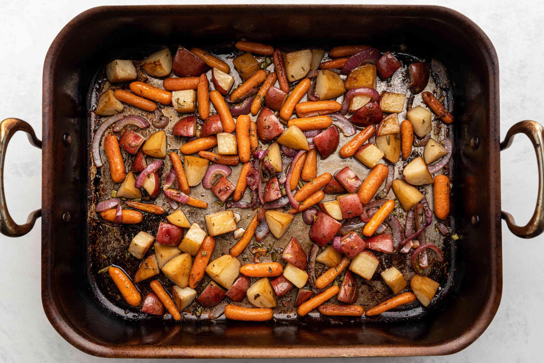 vegetables in a roasting pan