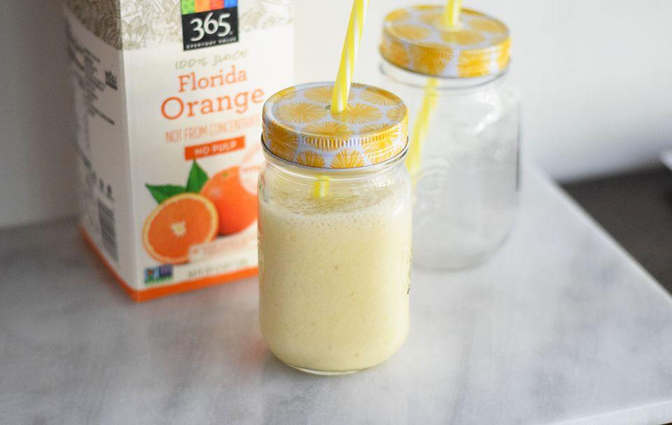 A homemade Orange Julius in a jar
