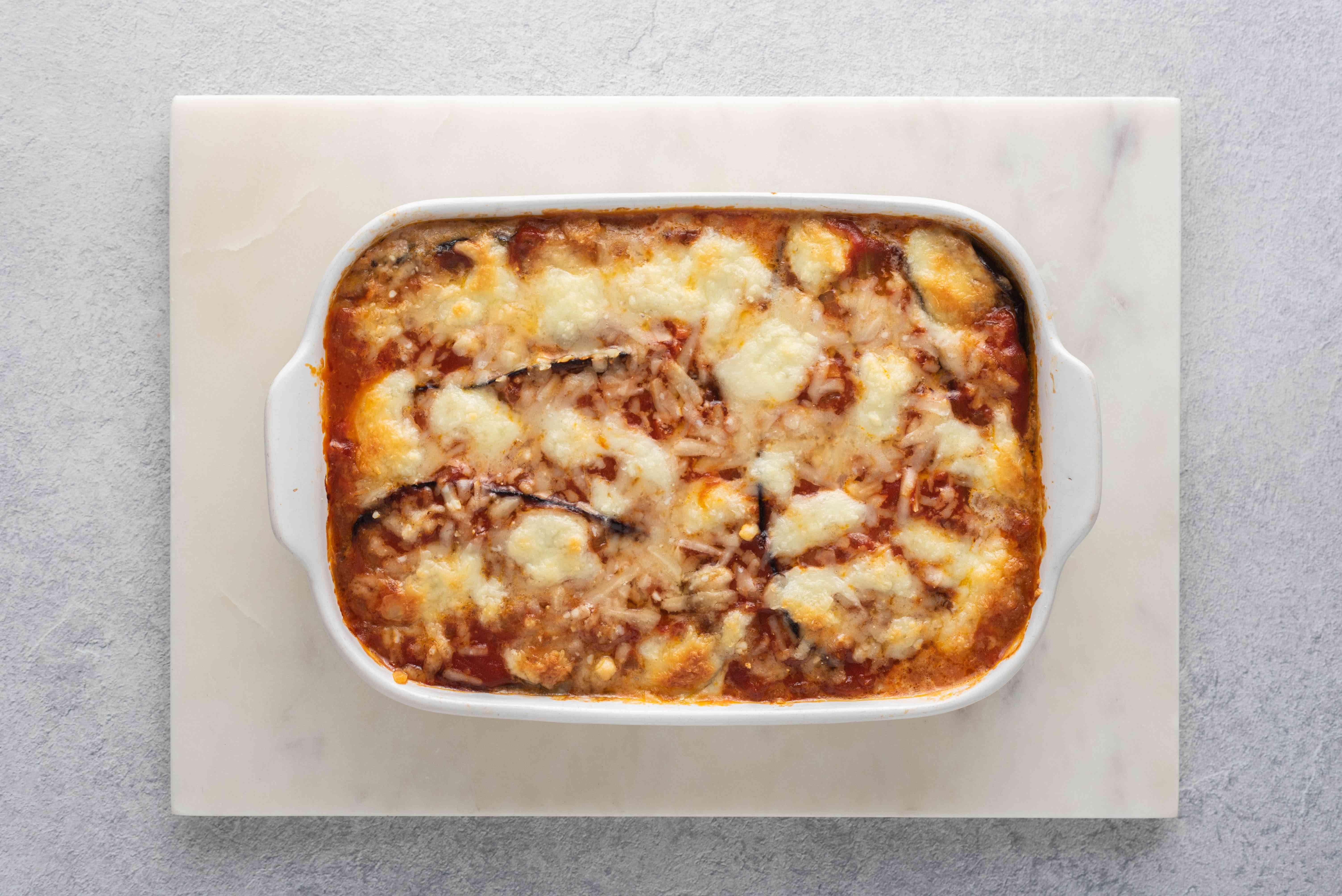 Authentic Eggplant Parmesan (Parmigiana Di Melanzane) in a baking dish