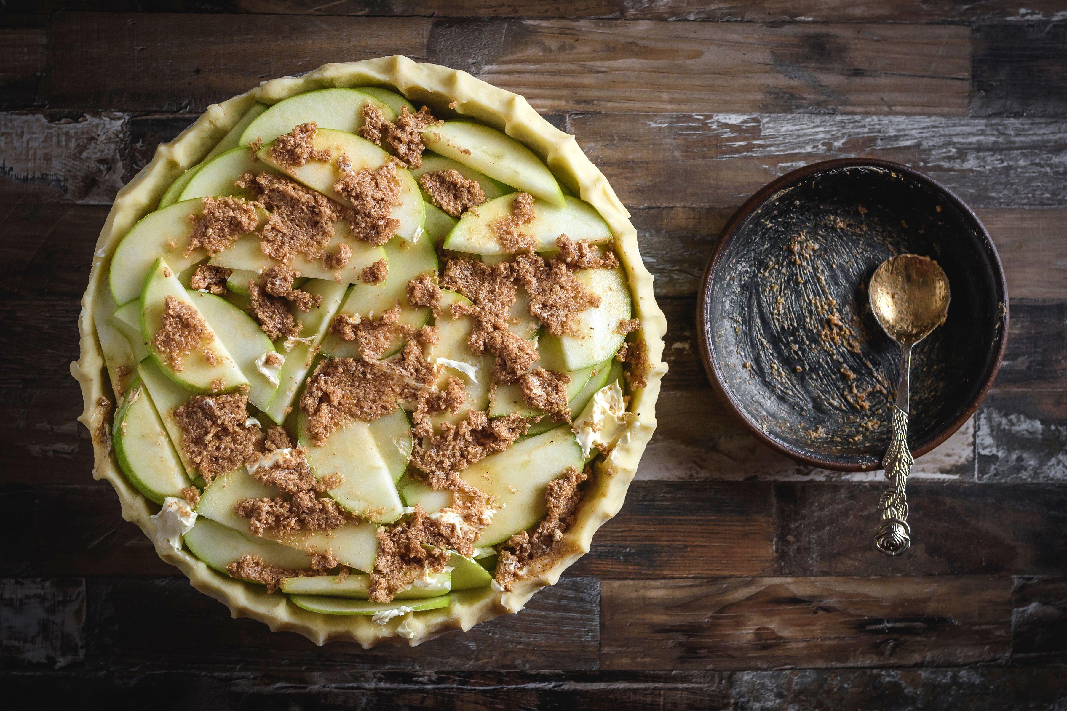 Crumble sugar mixture over pie