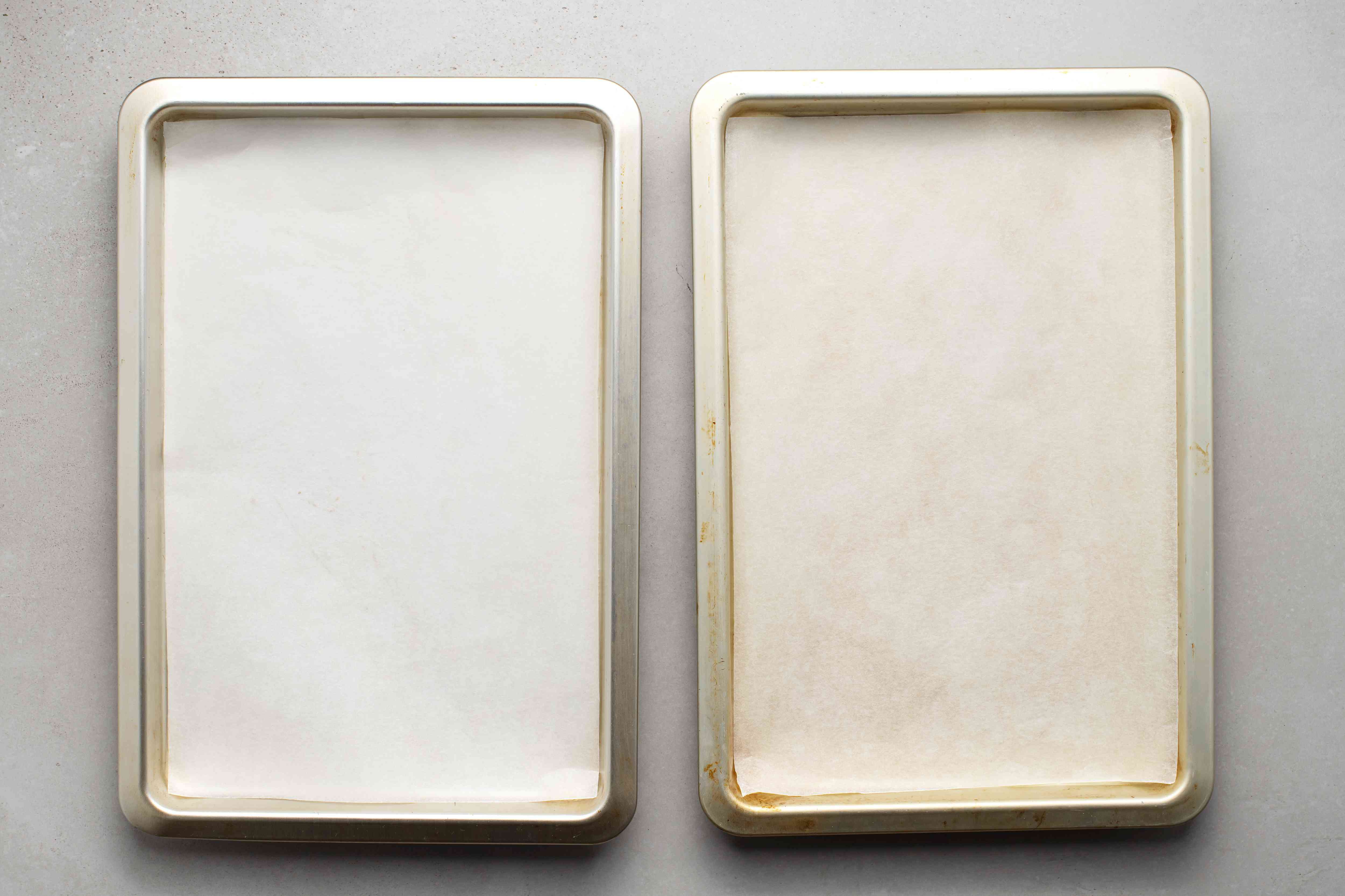 parchment paper lined baking sheets