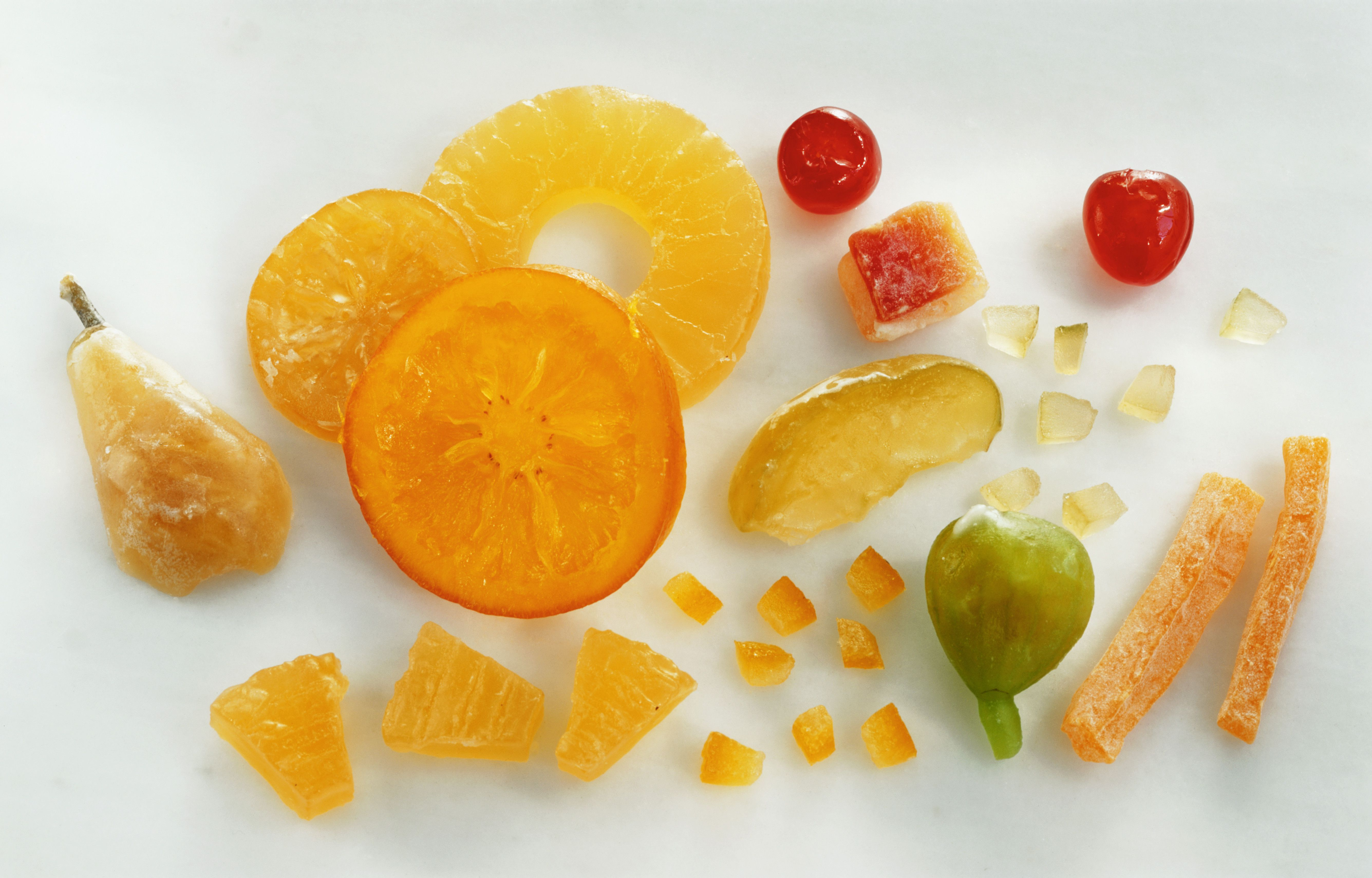 A variety of candied fruits
