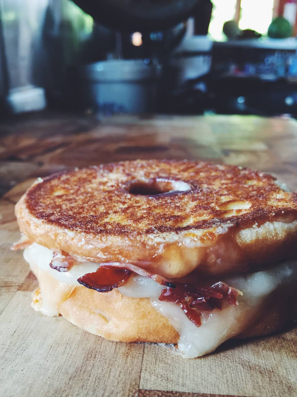 Donut Grilled Cheese with Bacon and Maple Glaze
