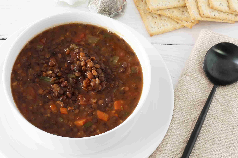 Classic lentil soup in a bowl.
