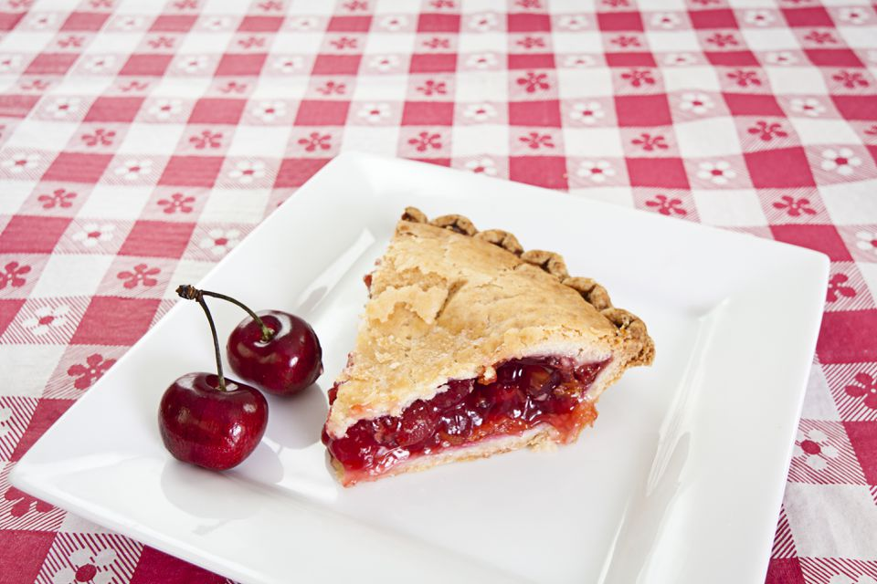 Slice of cherry pie with cherry on side on plate