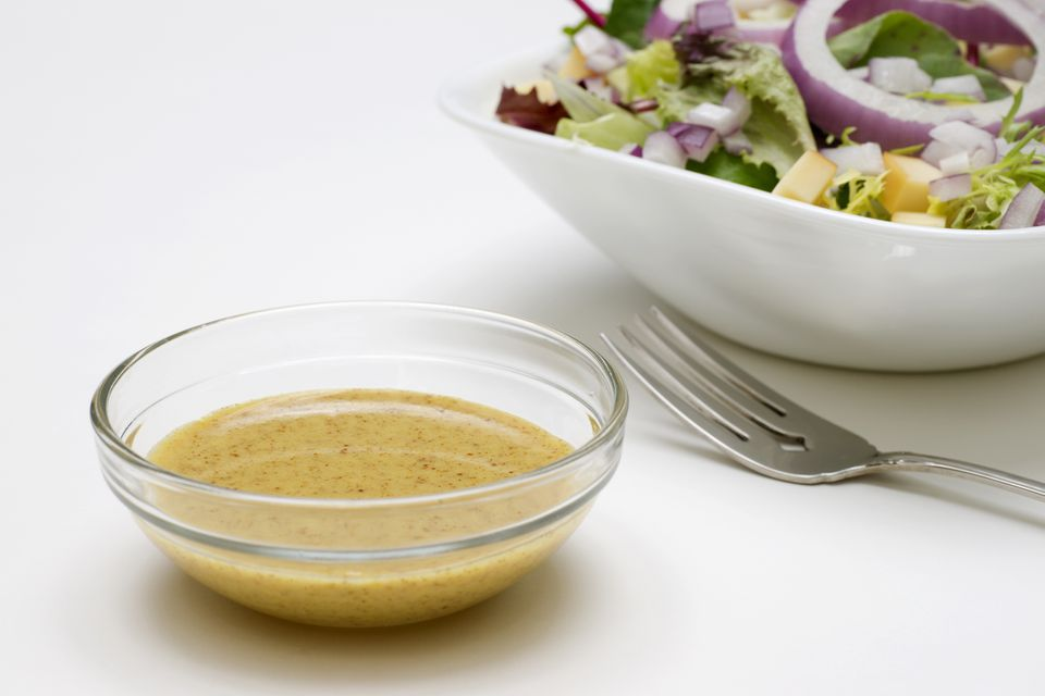A bowl of low-fat mustard dressing