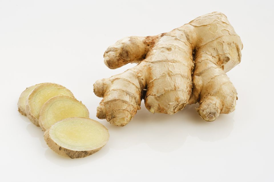 Whole and sliced ginger root